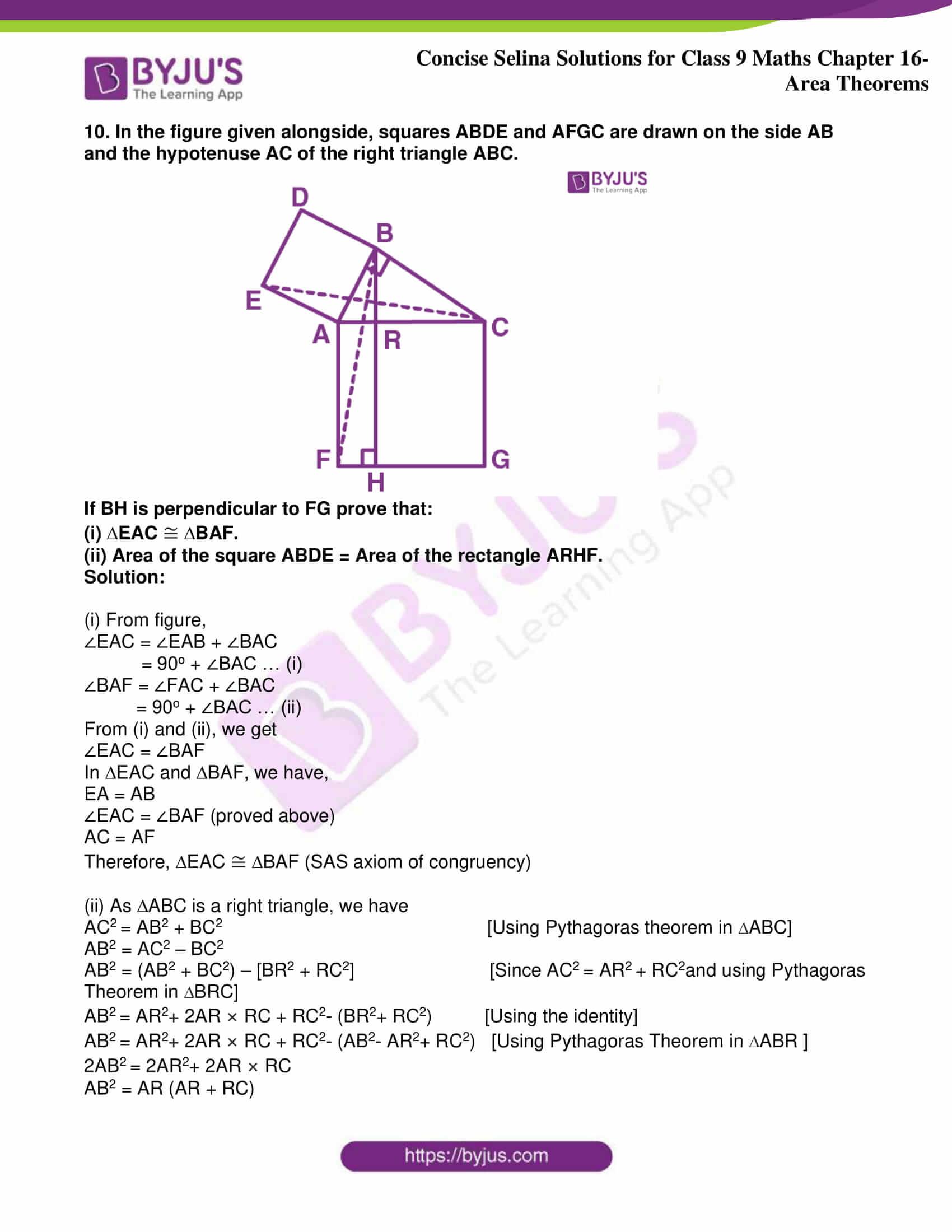 icse class 9 jun9 maths selina solutions chapter 16 area theorems 09