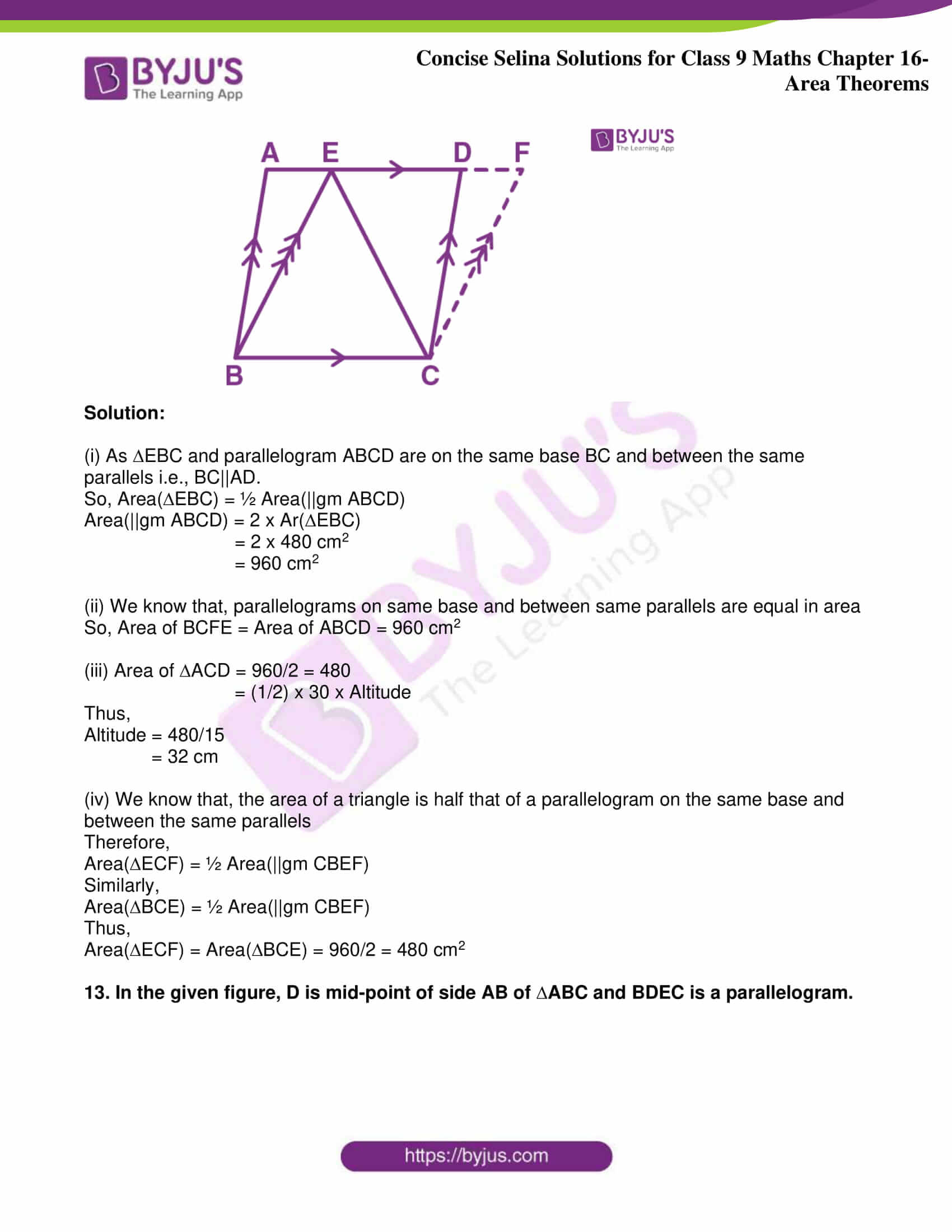 icse class 9 jun9 maths selina solutions chapter 16 area theorems 11