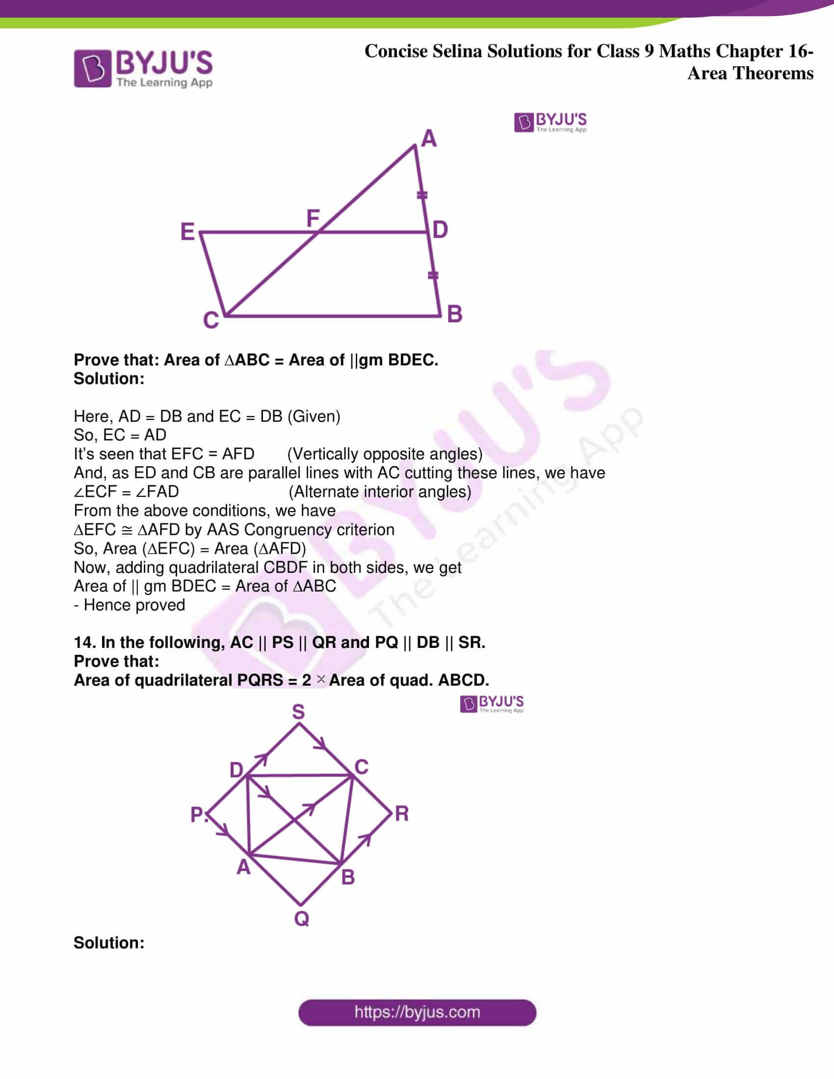 icse class 9 jun9 maths selina solutions chapter 16 area theorems 12
