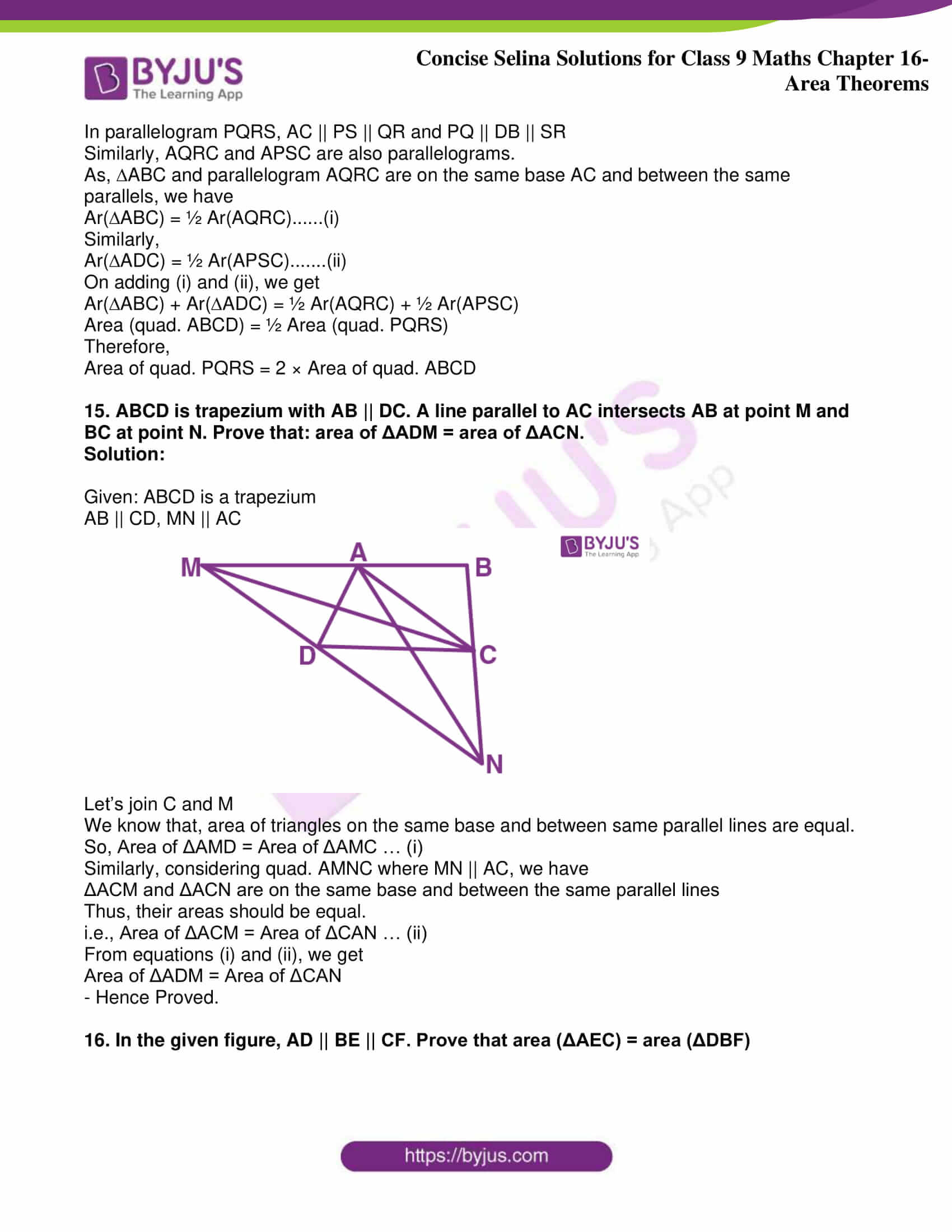 icse class 9 jun9 maths selina solutions chapter 16 area theorems 13