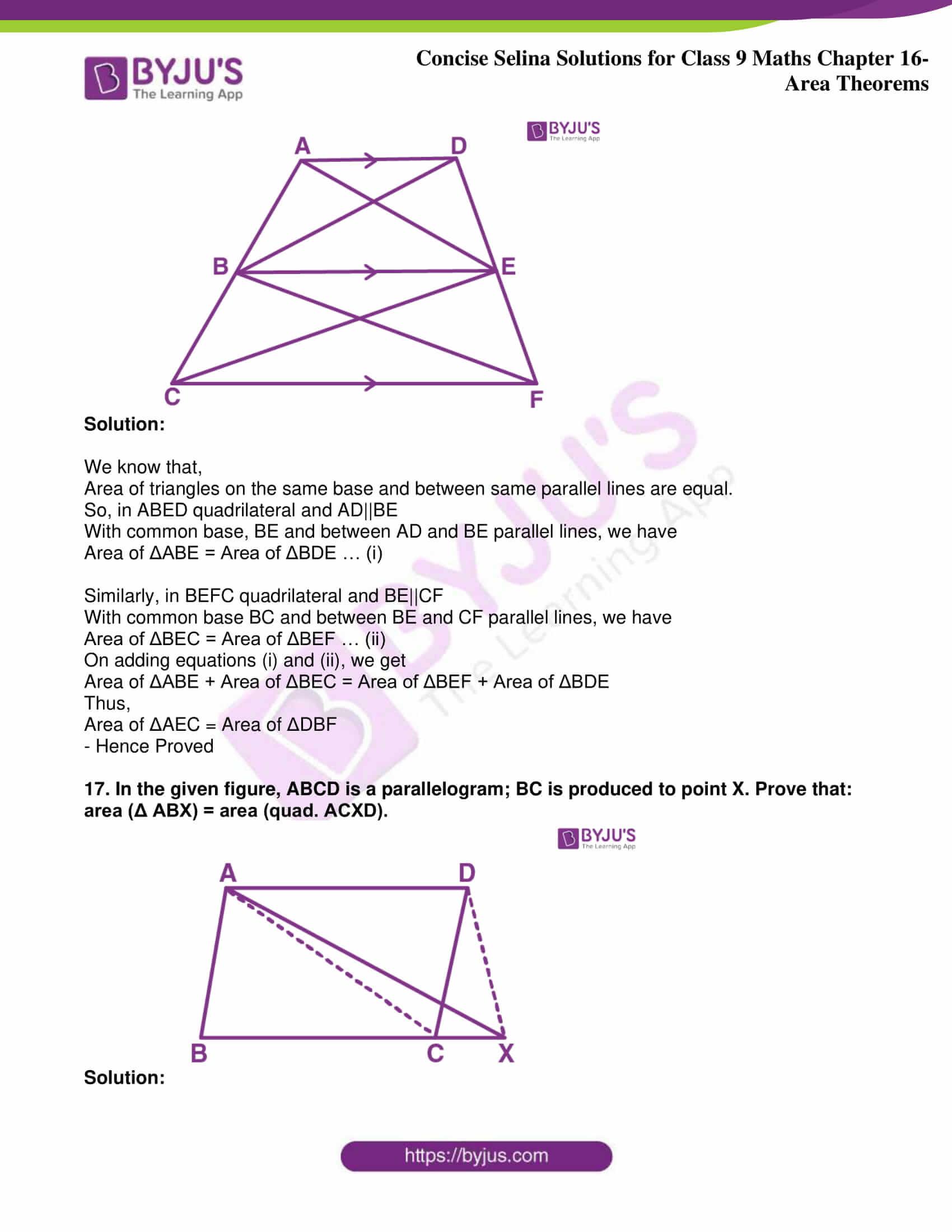 icse class 9 jun9 maths selina solutions chapter 16 area theorems 14