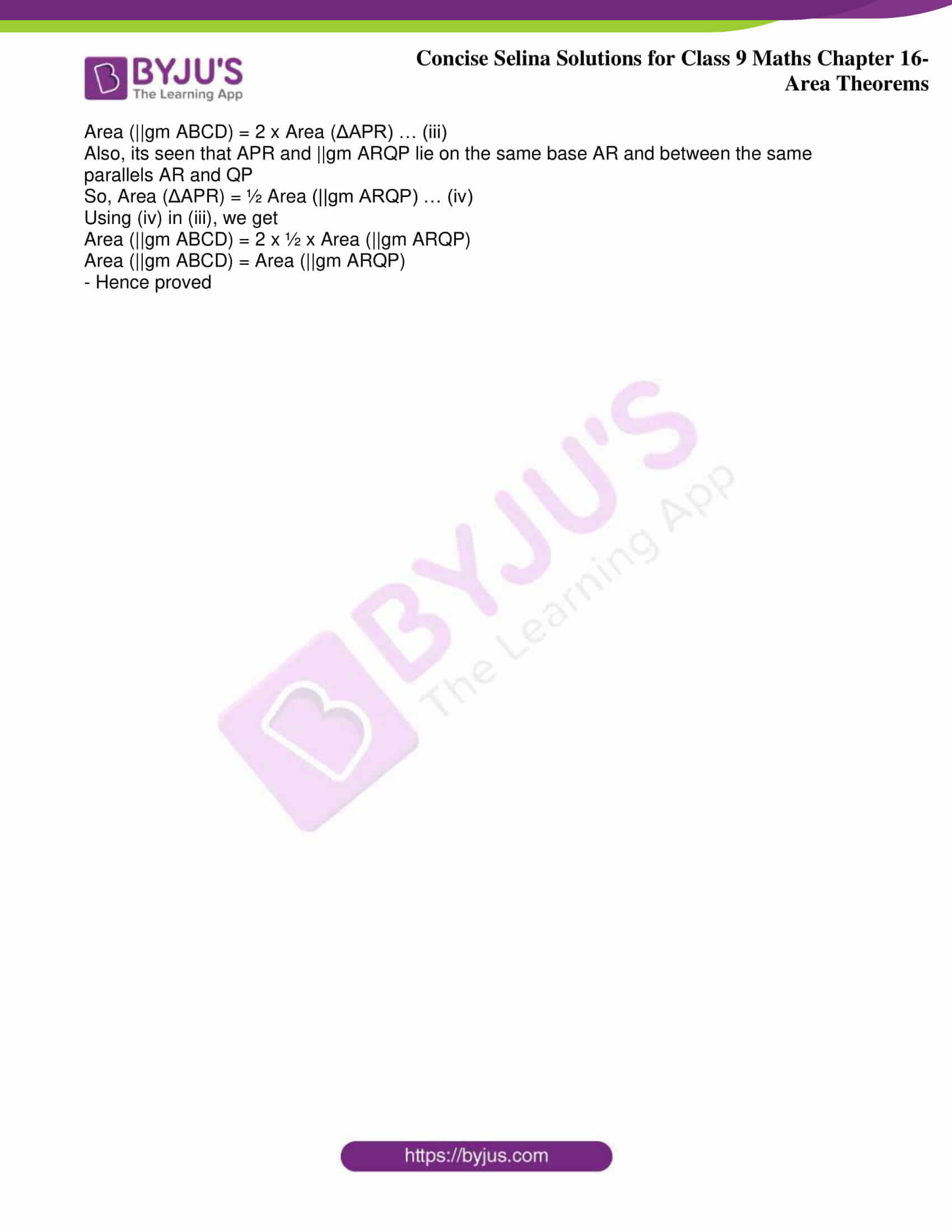 icse class 9 jun9 maths selina solutions chapter 16 area theorems 16