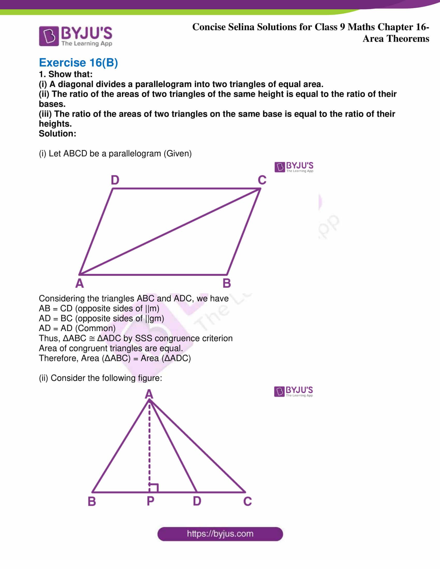icse class 9 jun9 maths selina solutions chapter 16 area theorems 17
