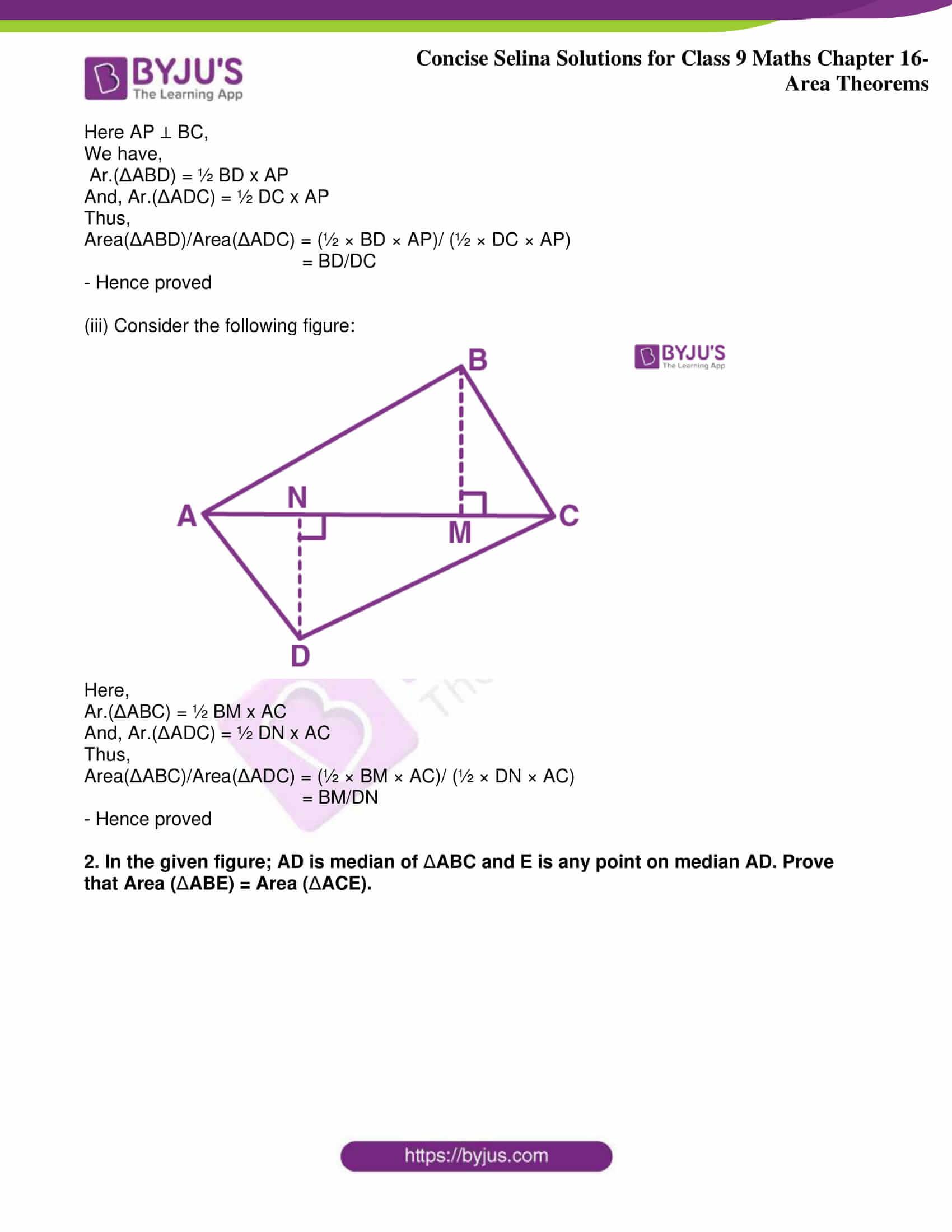 icse class 9 jun9 maths selina solutions chapter 16 area theorems 18