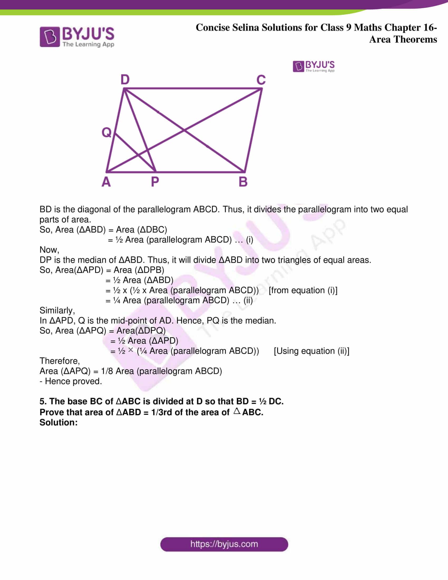 icse class 9 jun9 maths selina solutions chapter 16 area theorems 20