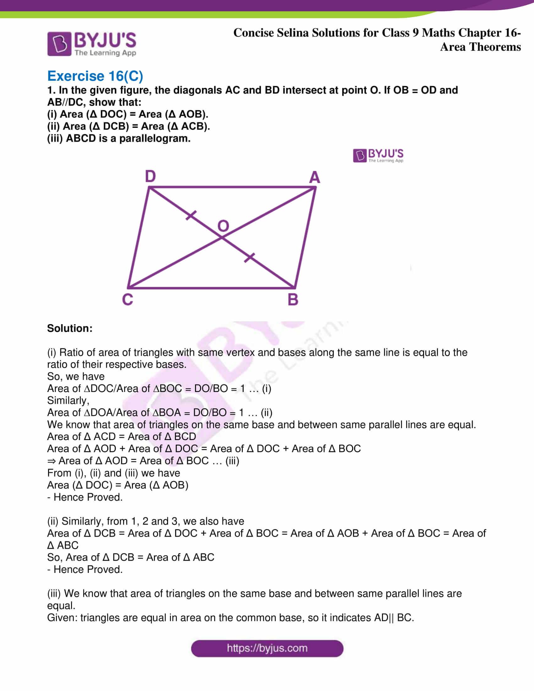 icse class 9 jun9 maths selina solutions chapter 16 area theorems 25
