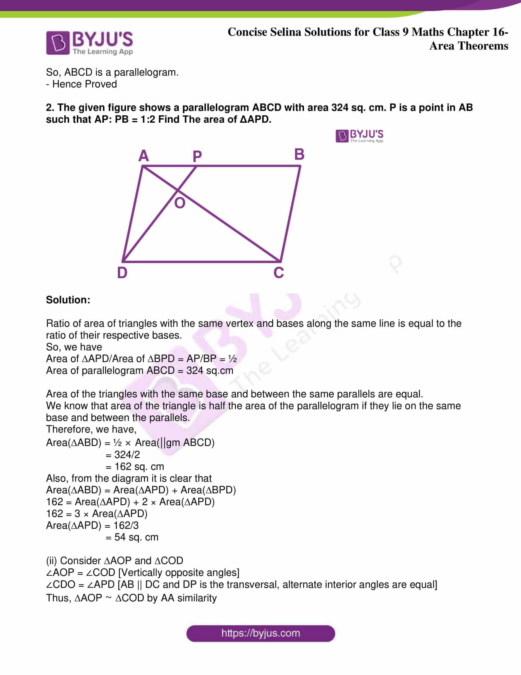 icse class 9 jun9 maths selina solutions chapter 16 area theorems 26