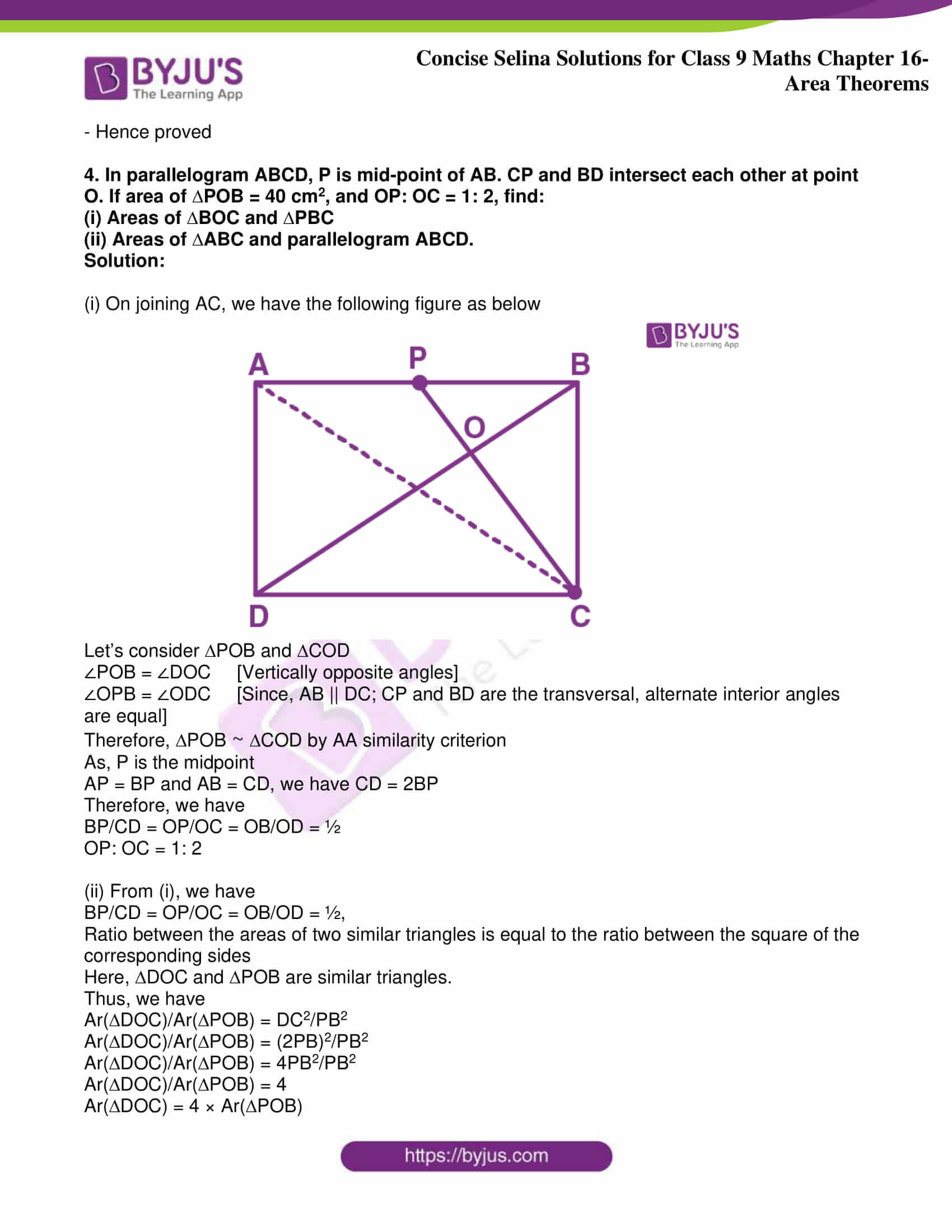 icse class 9 jun9 maths selina solutions chapter 16 area theorems 28