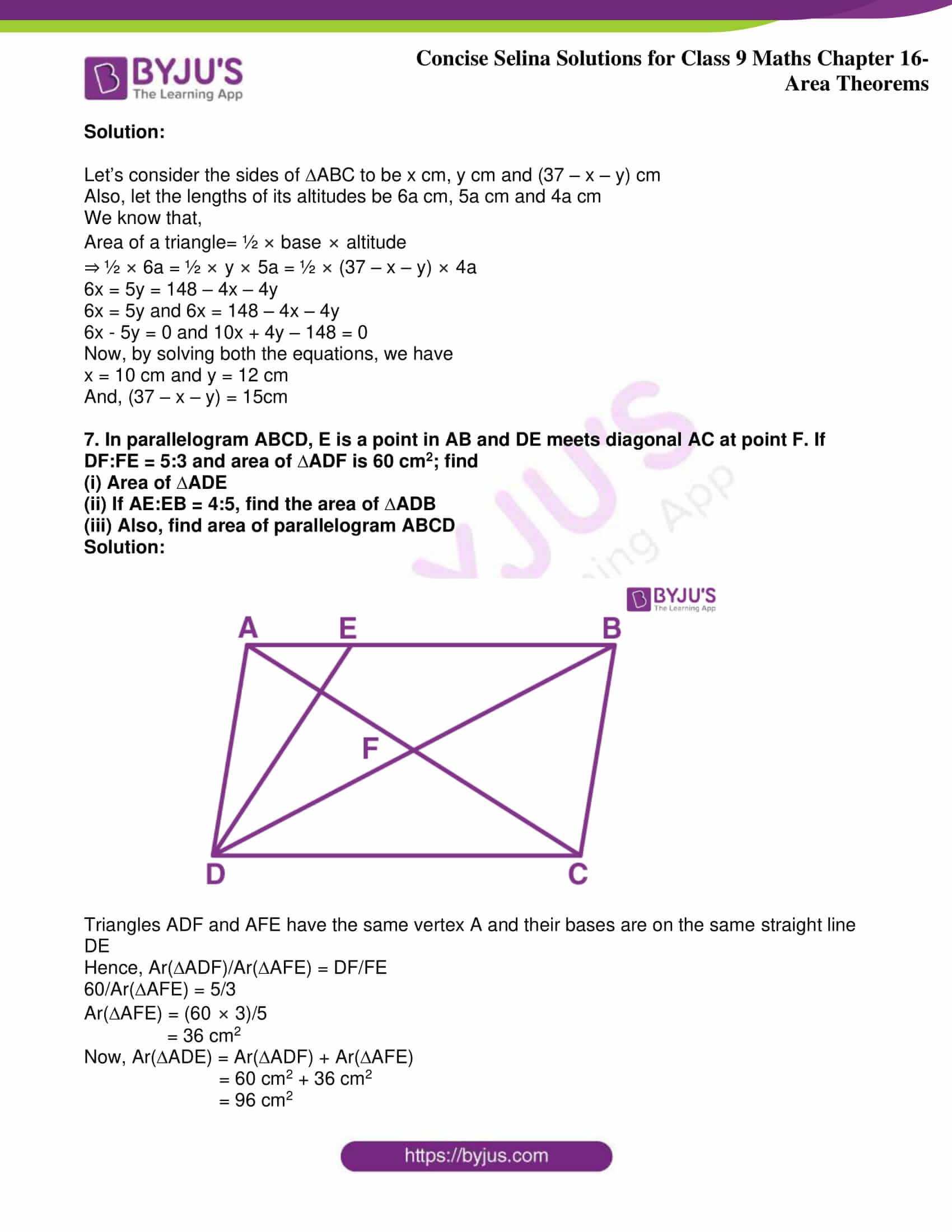 icse class 9 jun9 maths selina solutions chapter 16 area theorems 31
