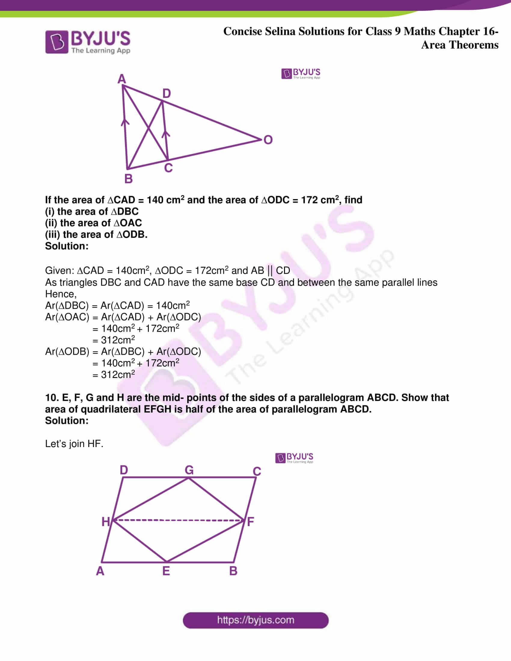 icse class 9 jun9 maths selina solutions chapter 16 area theorems 33