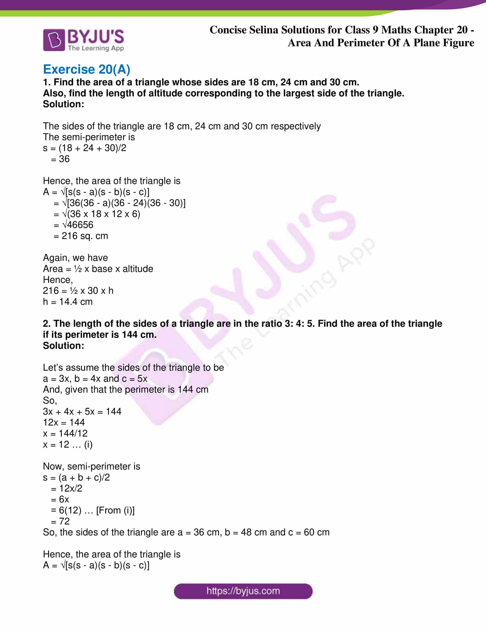 icse class 9 jun9 maths selina solutions chapter 20 area and perimeter of a plane figure 01