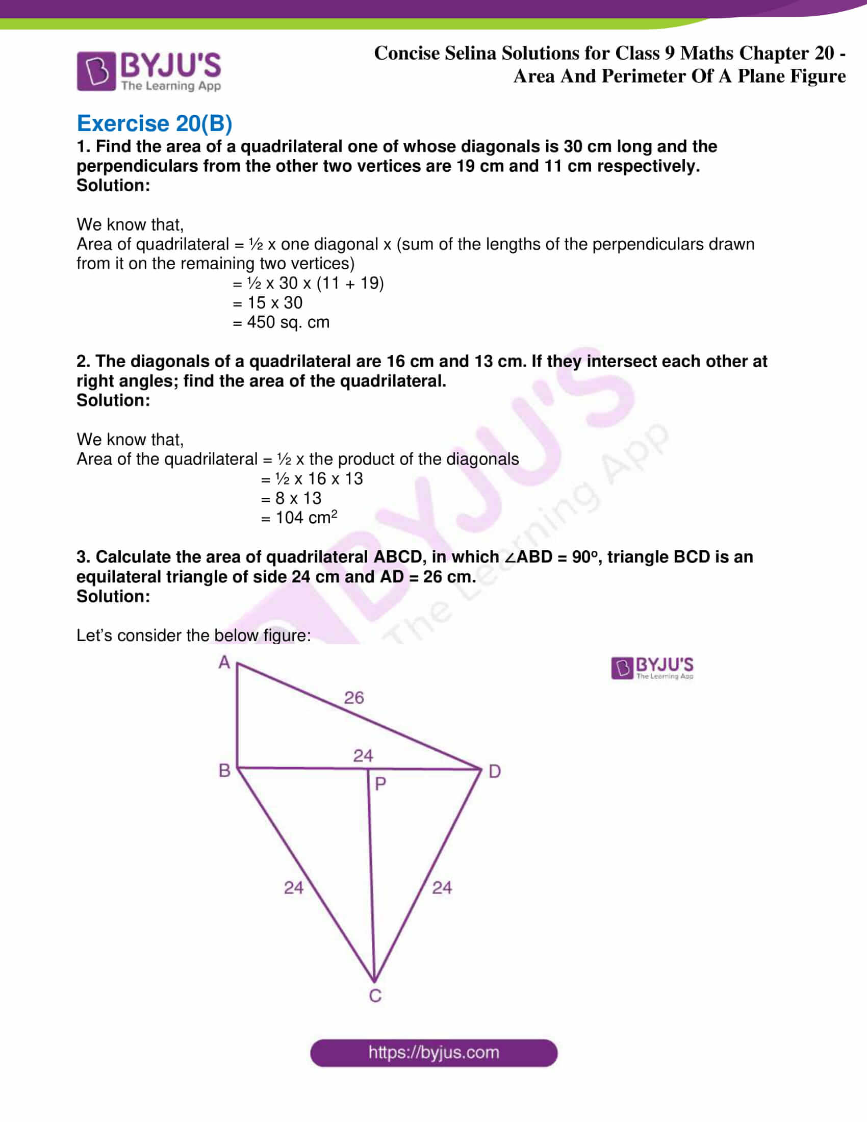 icse class 9 jun9 maths selina solutions chapter 20 area and perimeter of a plane figure 04