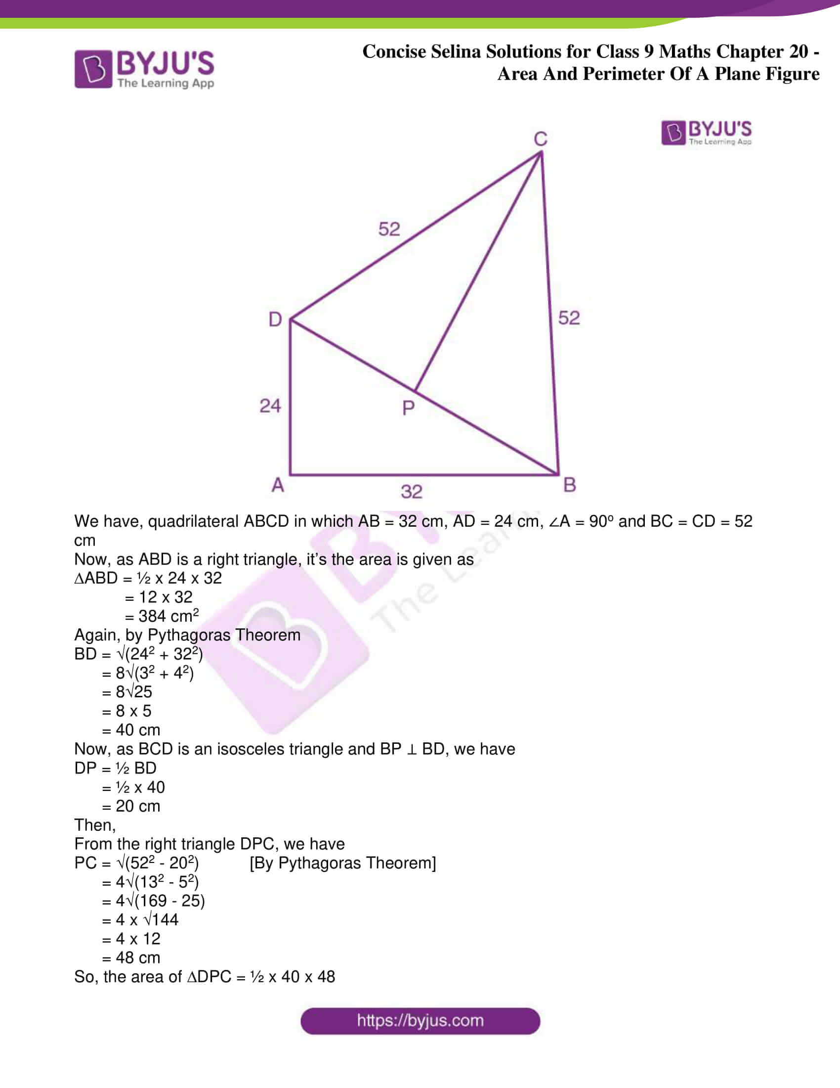 icse class 9 jun9 maths selina solutions chapter 20 area and perimeter of a plane figure 06
