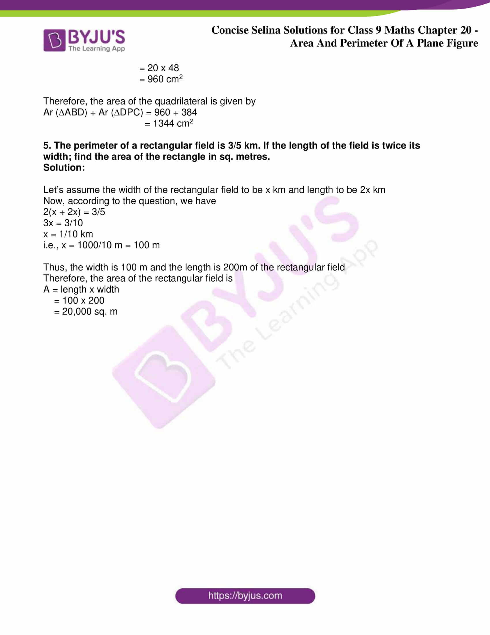 icse class 9 jun9 maths selina solutions chapter 20 area and perimeter of a plane figure 07