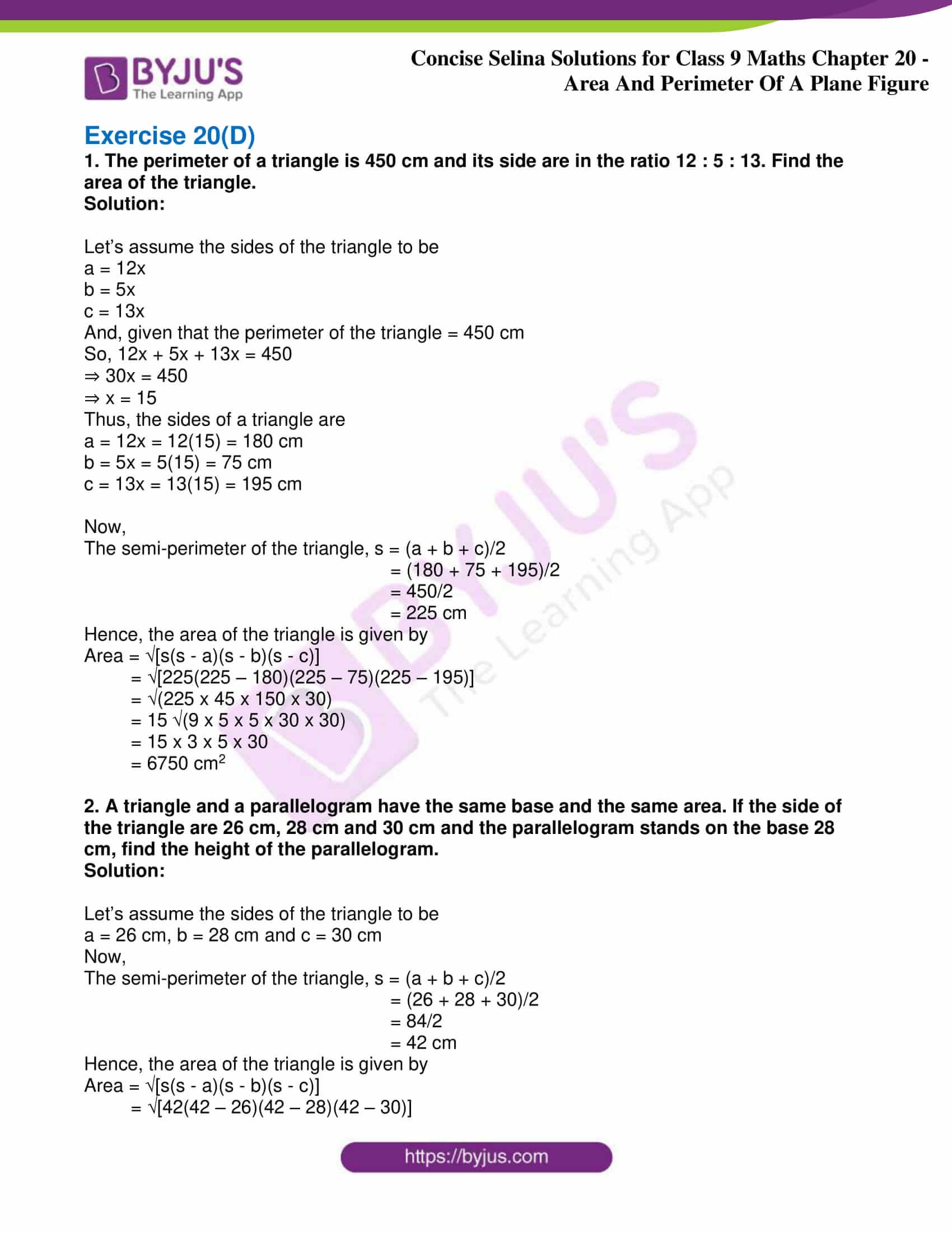 icse class 9 jun9 maths selina solutions chapter 20 area and perimeter of a plane figure 11