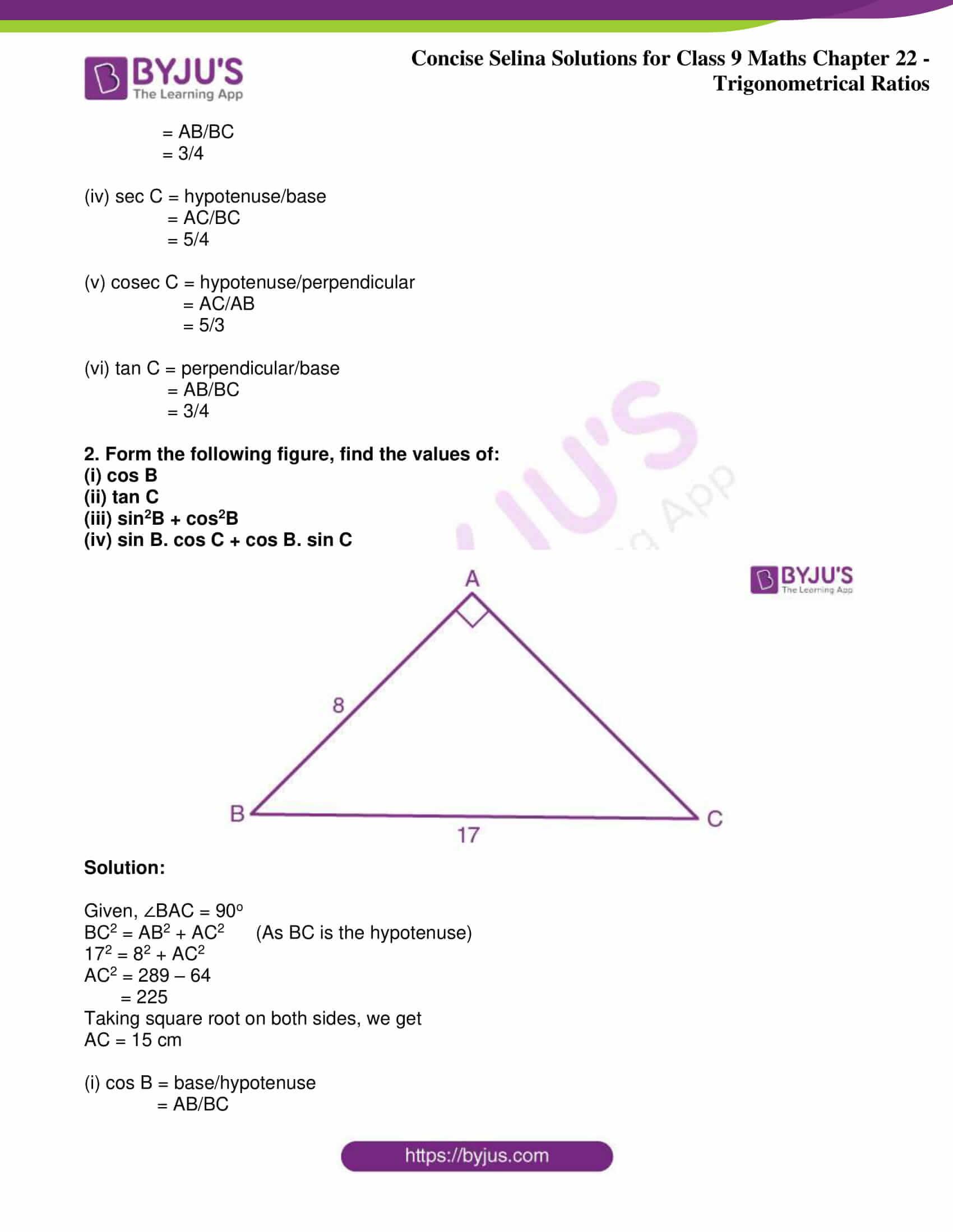icse class 9 jun9 maths selina solutions chapter 22 trigonometrical ratios 02