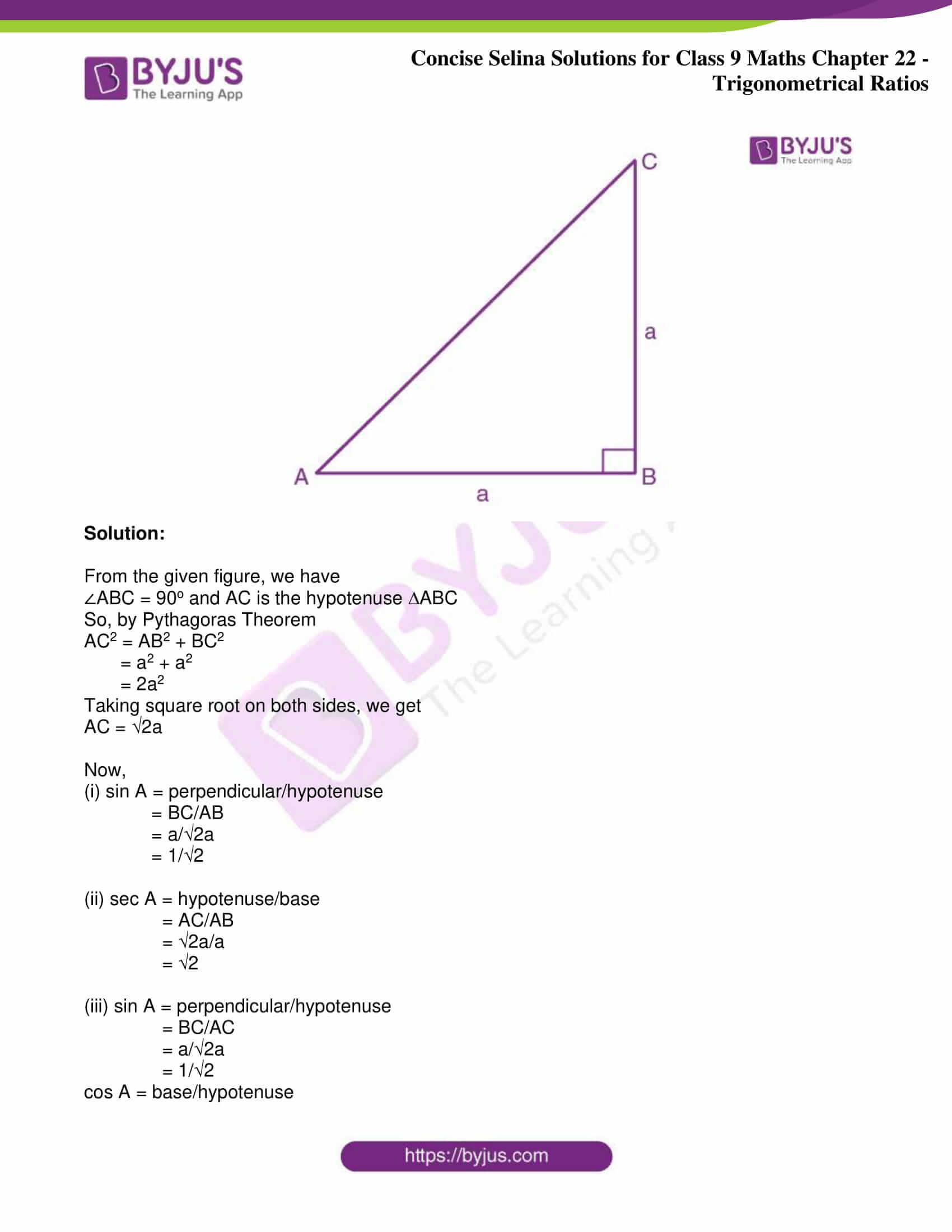 icse class 9 jun9 maths selina solutions chapter 22 trigonometrical ratios 09