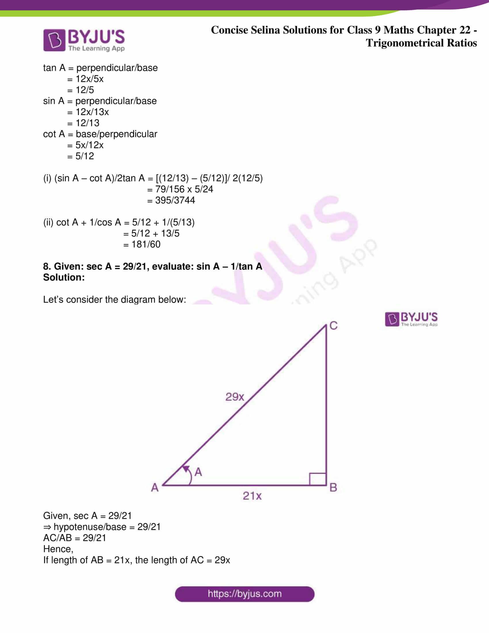 icse class 9 jun9 maths selina solutions chapter 22 trigonometrical ratios 11