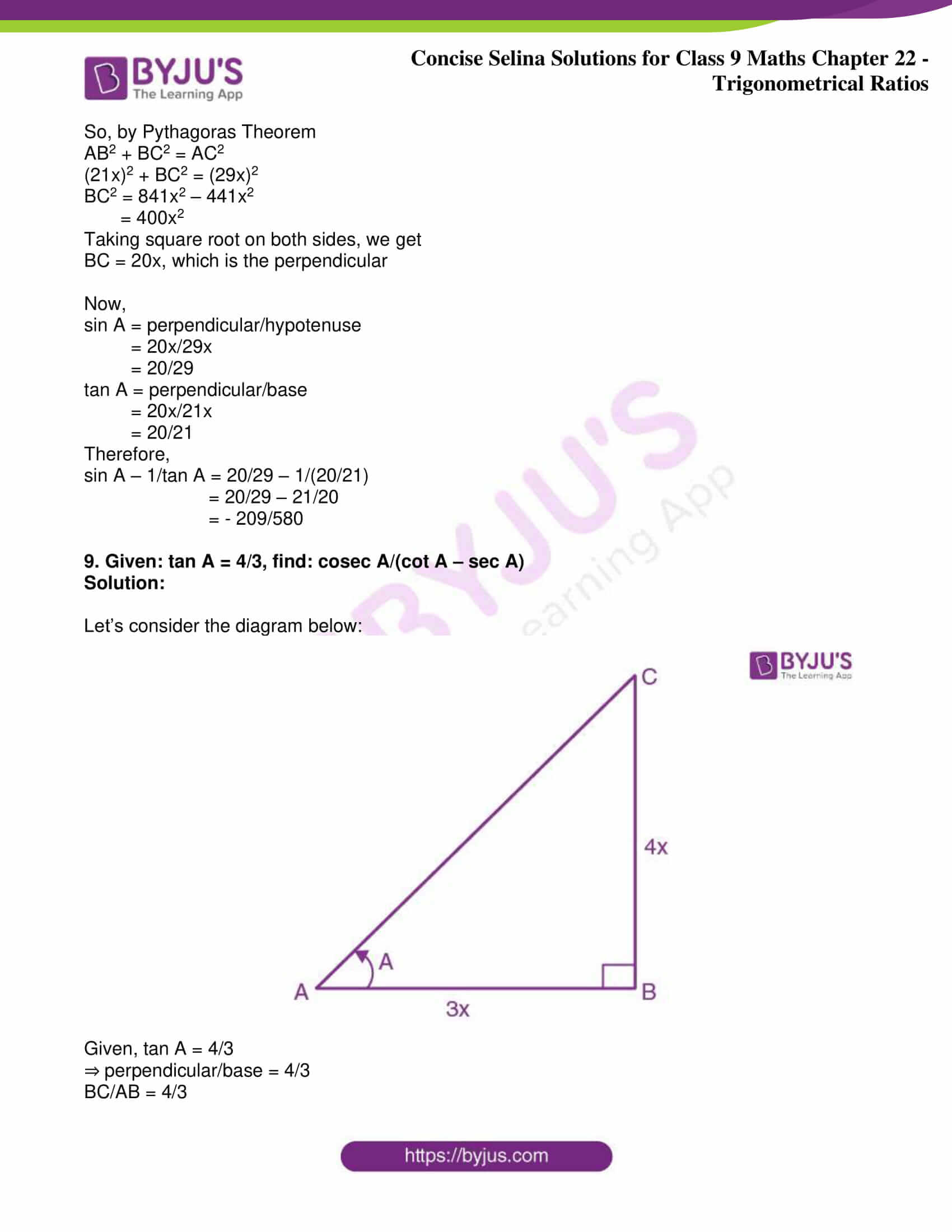 icse class 9 jun9 maths selina solutions chapter 22 trigonometrical ratios 12