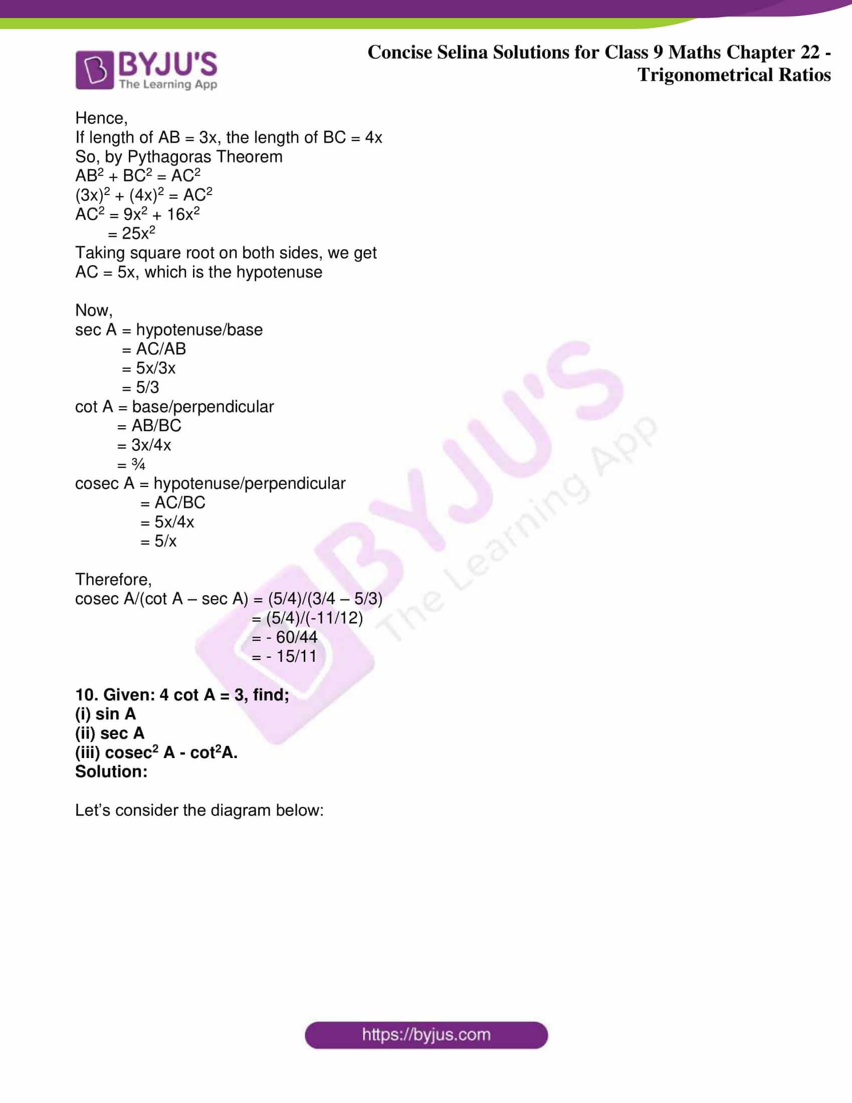 icse class 9 jun9 maths selina solutions chapter 22 trigonometrical ratios 13