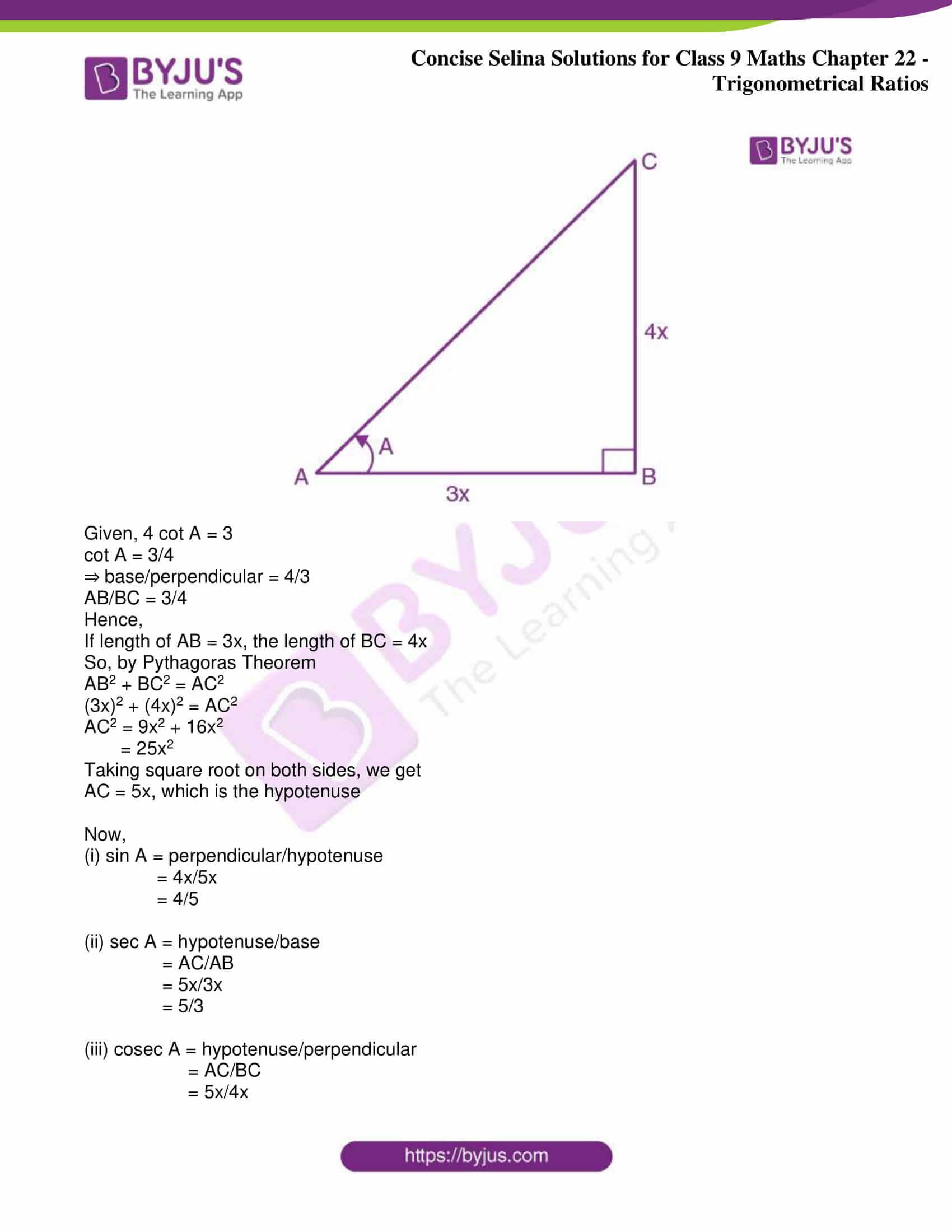 icse class 9 jun9 maths selina solutions chapter 22 trigonometrical ratios 14