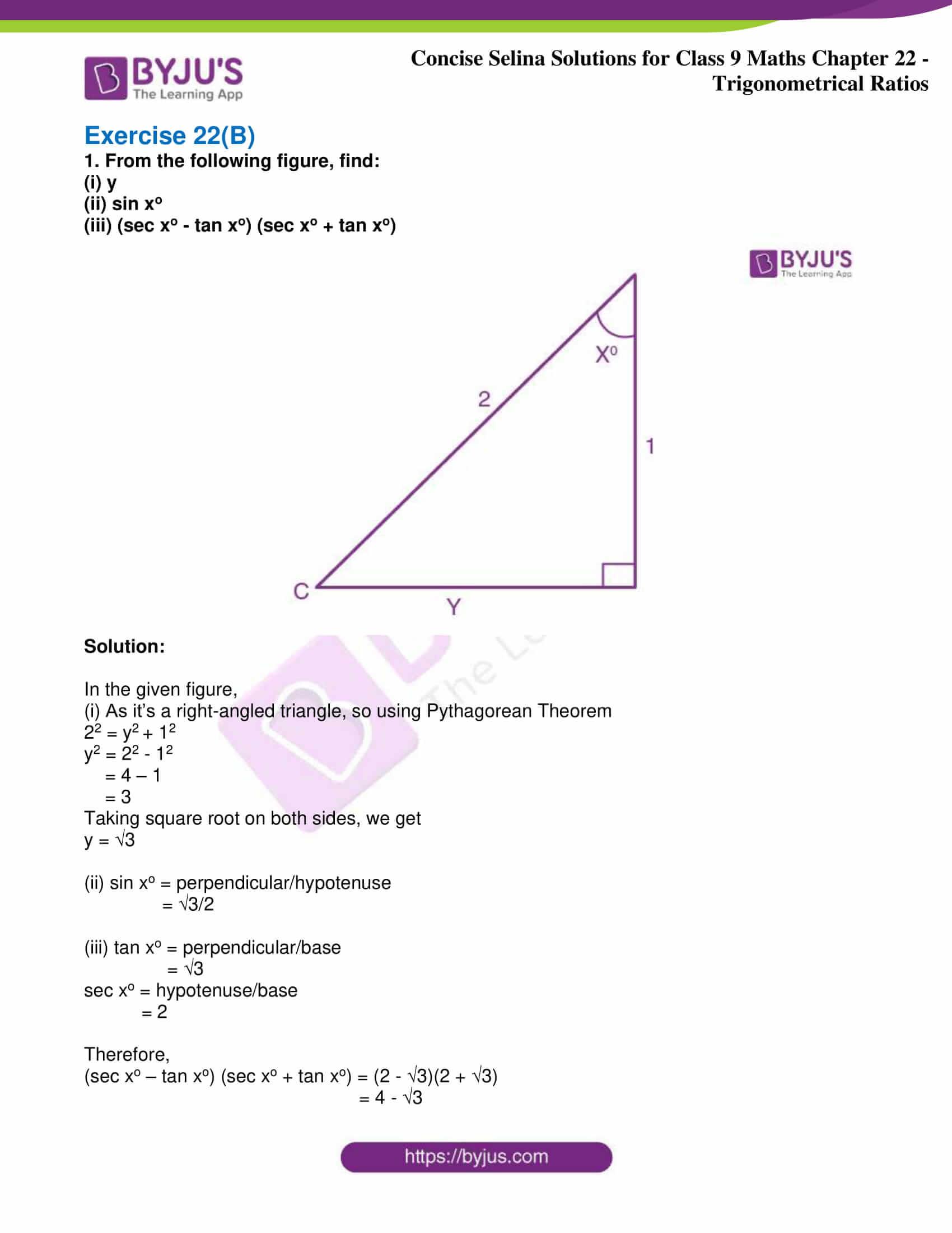 icse class 9 jun9 maths selina solutions chapter 22 trigonometrical ratios 16