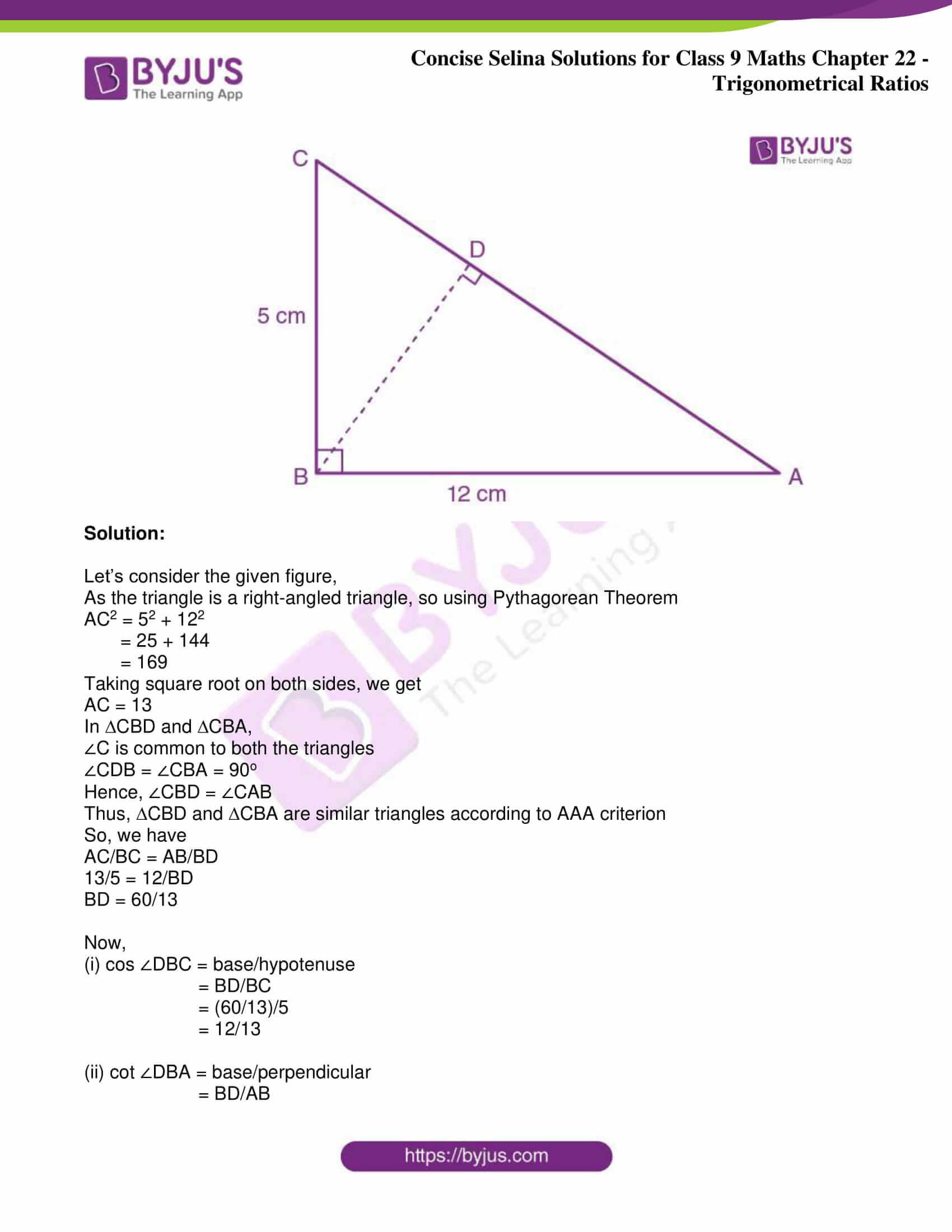 icse class 9 jun9 maths selina solutions chapter 22 trigonometrical ratios 19