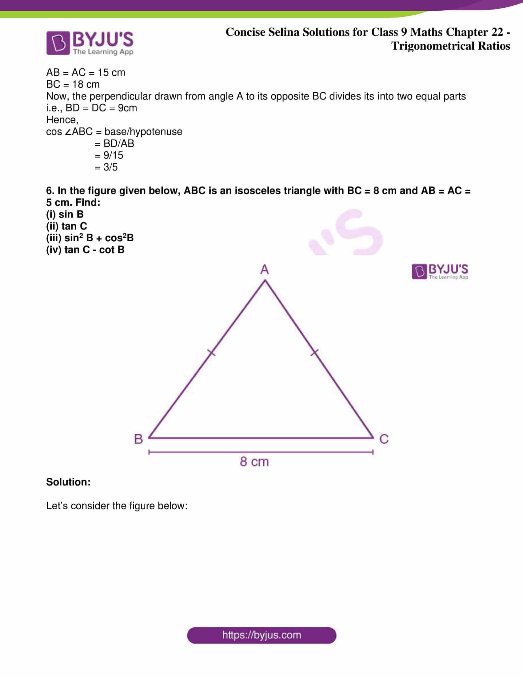 icse class 9 jun9 maths selina solutions chapter 22 trigonometrical ratios 22