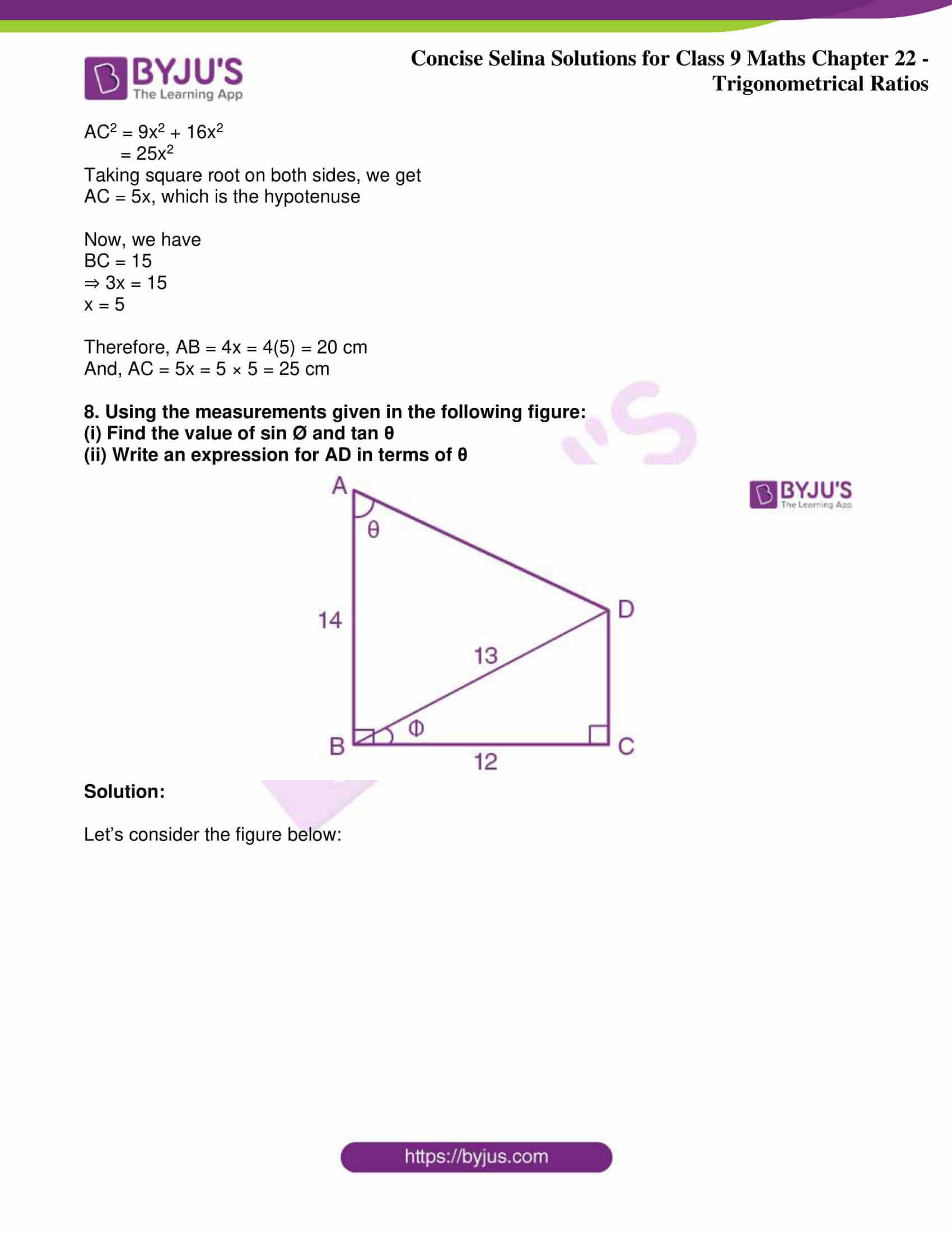 icse class 9 jun9 maths selina solutions chapter 22 trigonometrical ratios 25