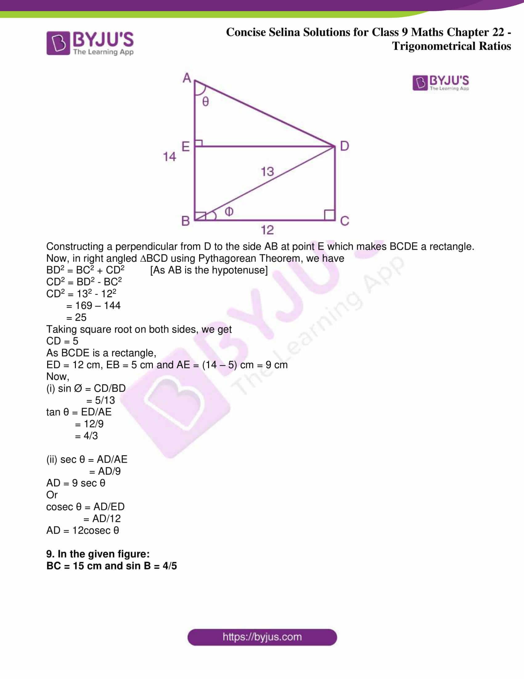 icse class 9 jun9 maths selina solutions chapter 22 trigonometrical ratios 26