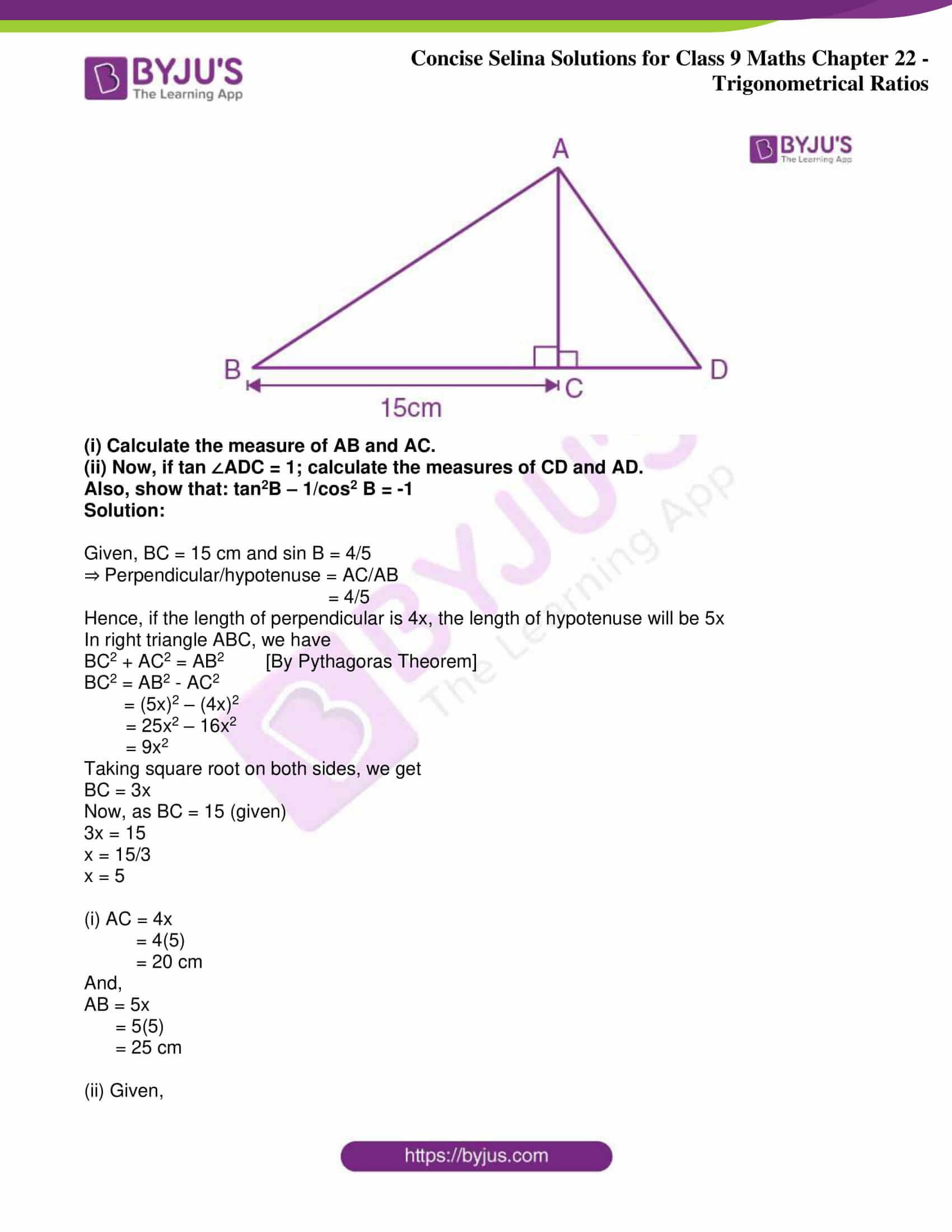 icse class 9 jun9 maths selina solutions chapter 22 trigonometrical ratios 27