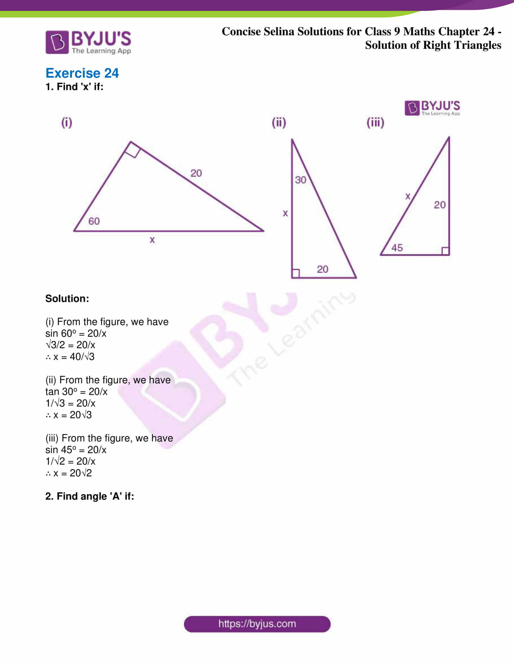 icse class 9 jun9 maths selina solutions chapter 24 solution of right triangles 01
