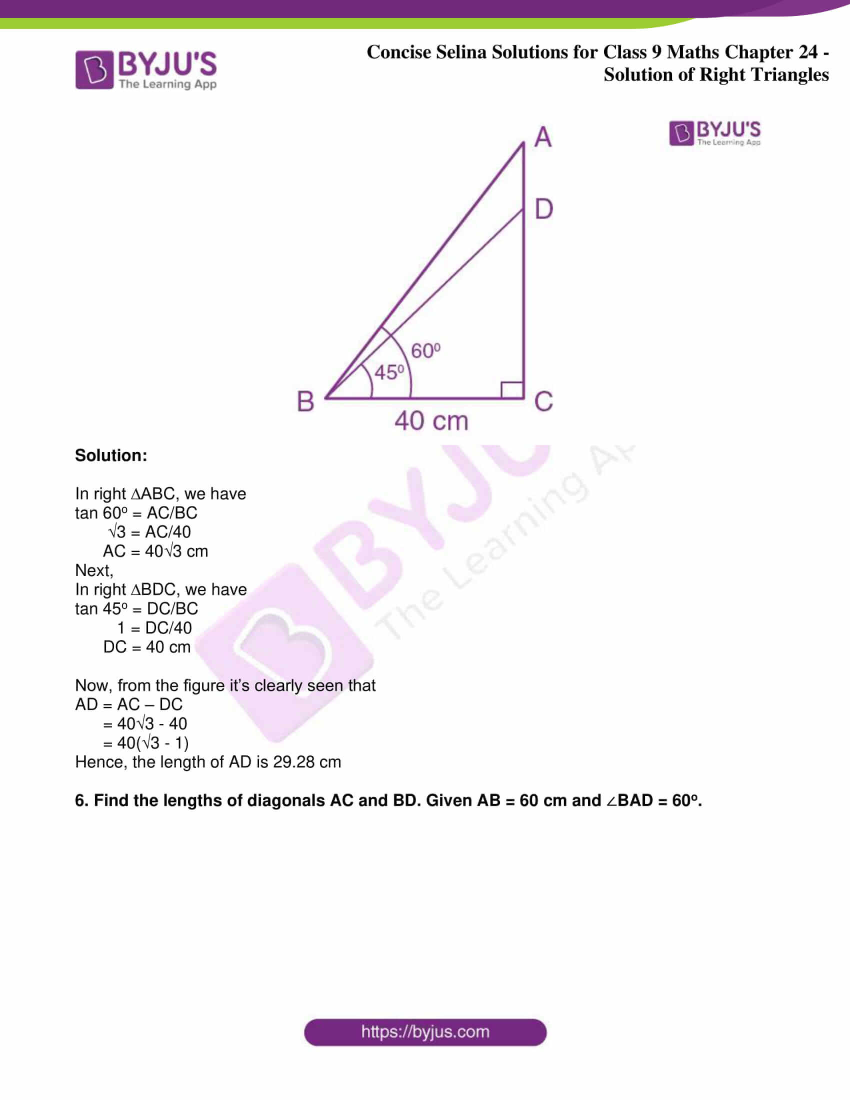 icse class 9 jun9 maths selina solutions chapter 24 solution of right triangles 05