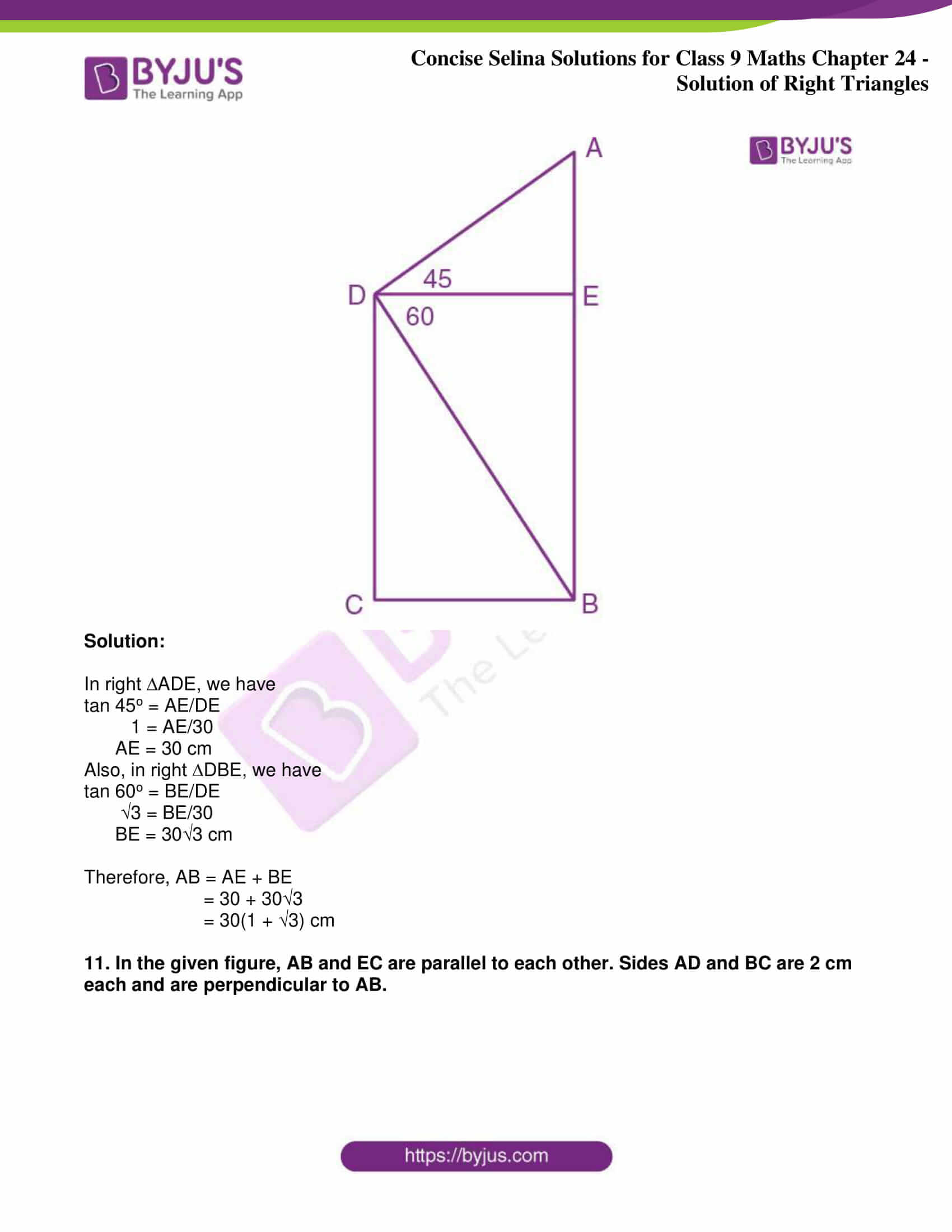 icse class 9 jun9 maths selina solutions chapter 24 solution of right triangles 11