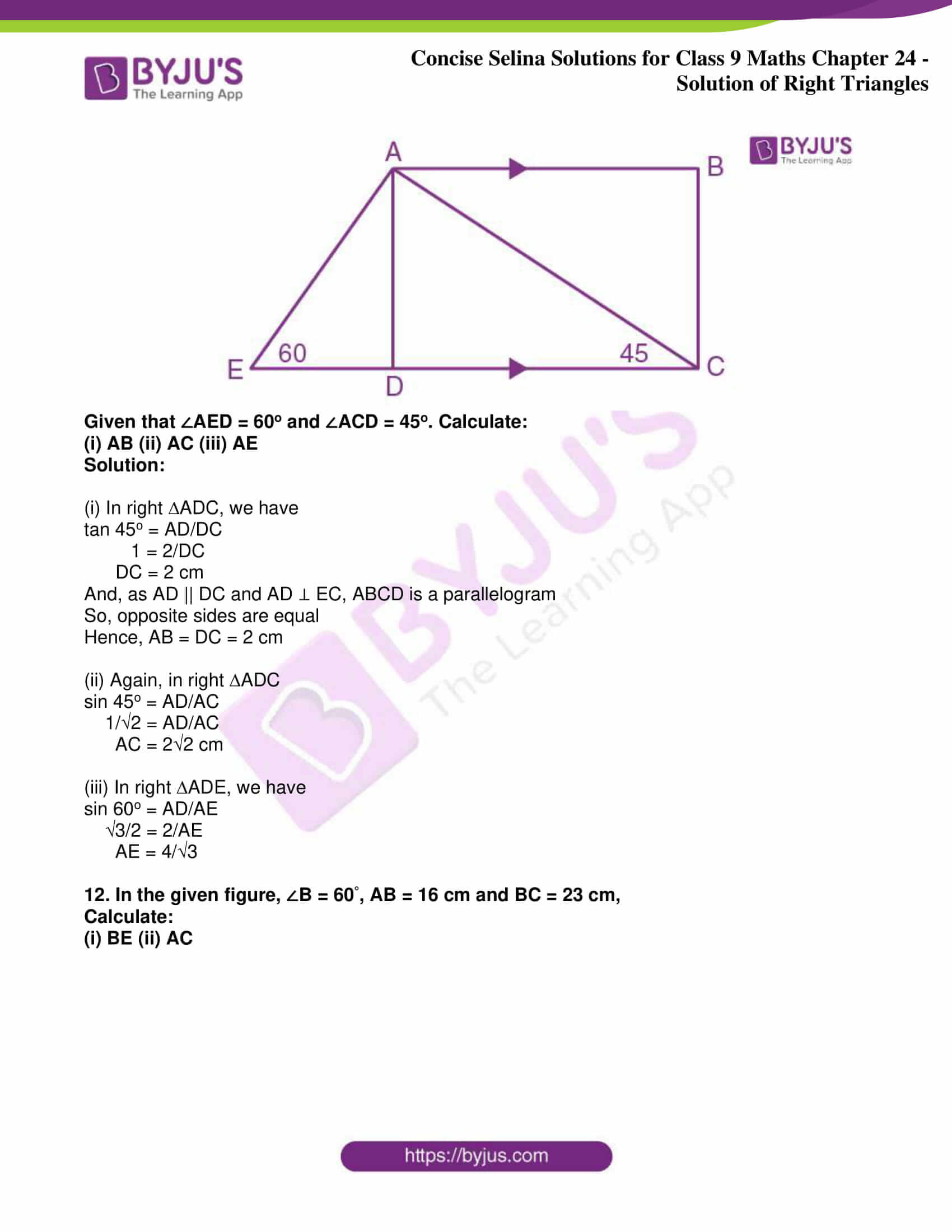 icse class 9 jun9 maths selina solutions chapter 24 solution of right triangles 12