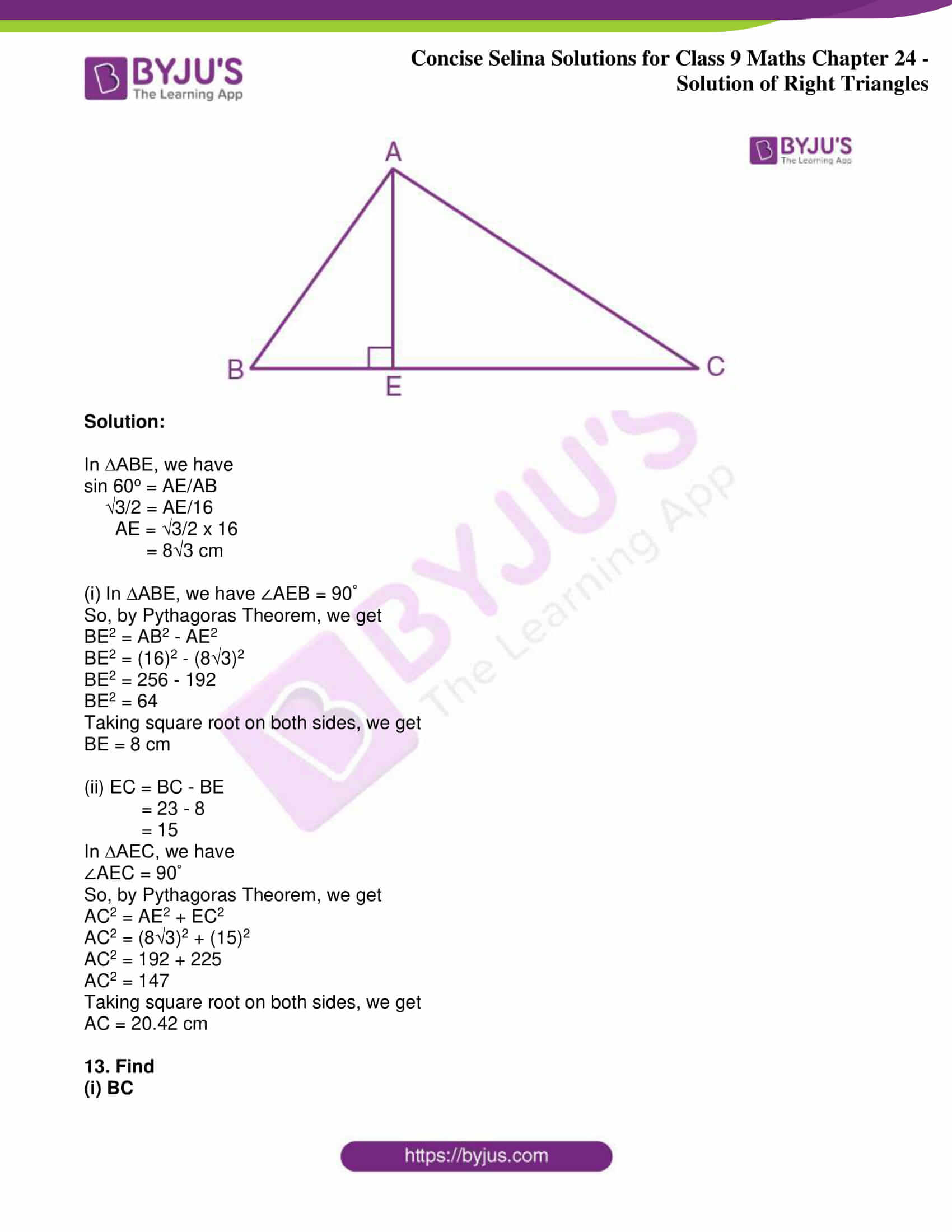 icse class 9 jun9 maths selina solutions chapter 24 solution of right triangles 13