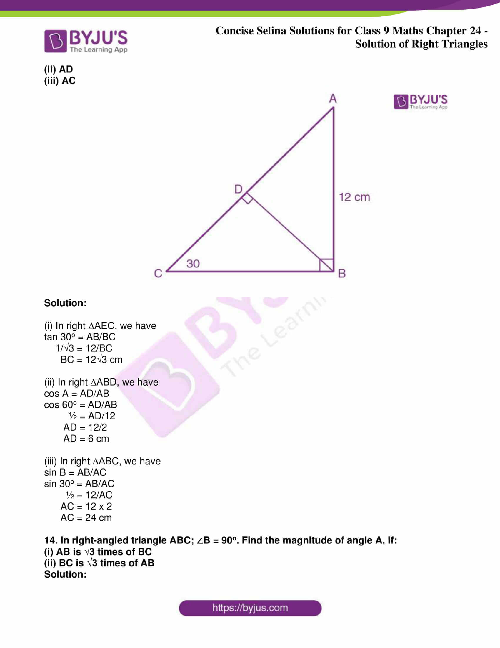 icse class 9 jun9 maths selina solutions chapter 24 solution of right triangles 14