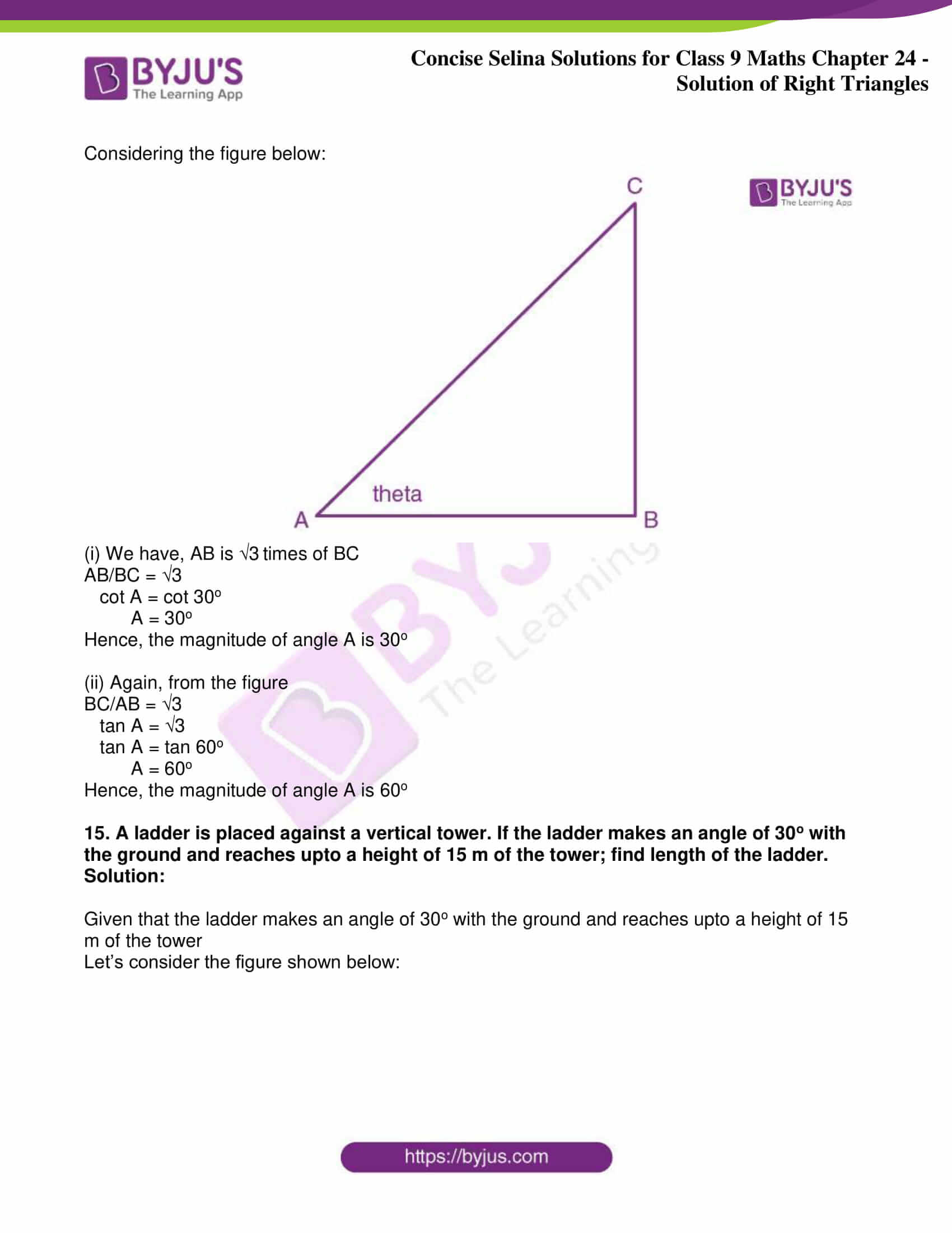 icse class 9 jun9 maths selina solutions chapter 24 solution of right triangles 15