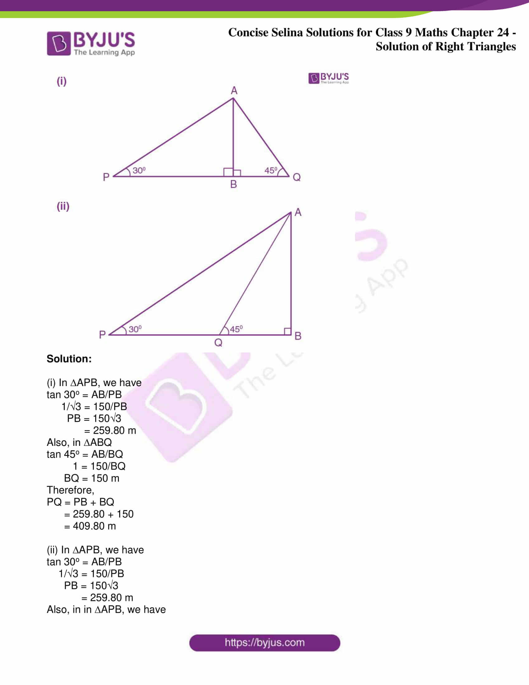 icse class 9 jun9 maths selina solutions chapter 24 solution of right triangles 20