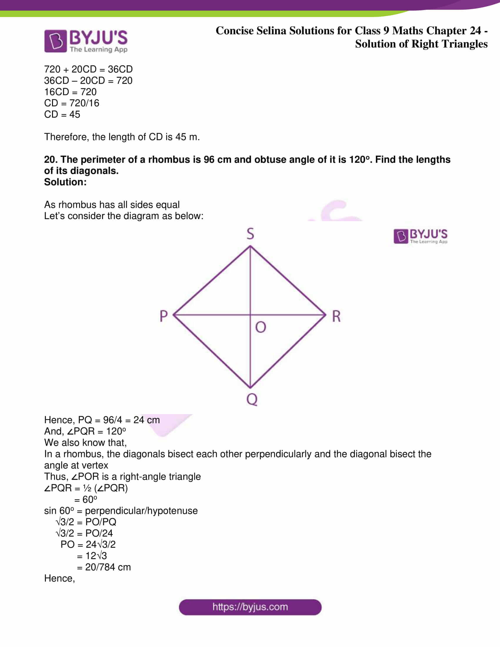 icse class 9 jun9 maths selina solutions chapter 24 solution of right triangles 22