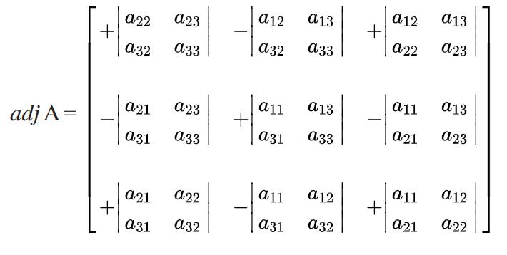 Adjoint of 3x3 matrix