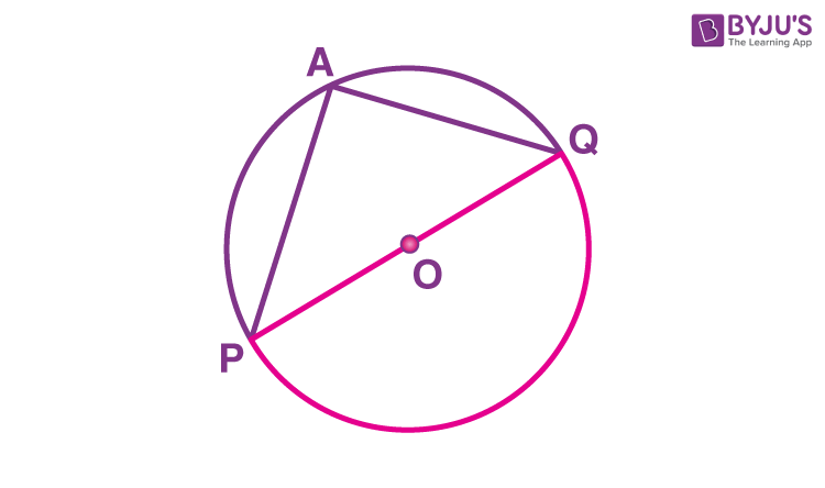 Angle subtended by a diameter on any point of a circle