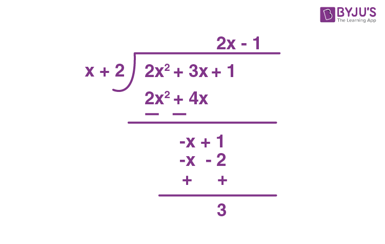 Division Algorithm for Polynomials Example - 2