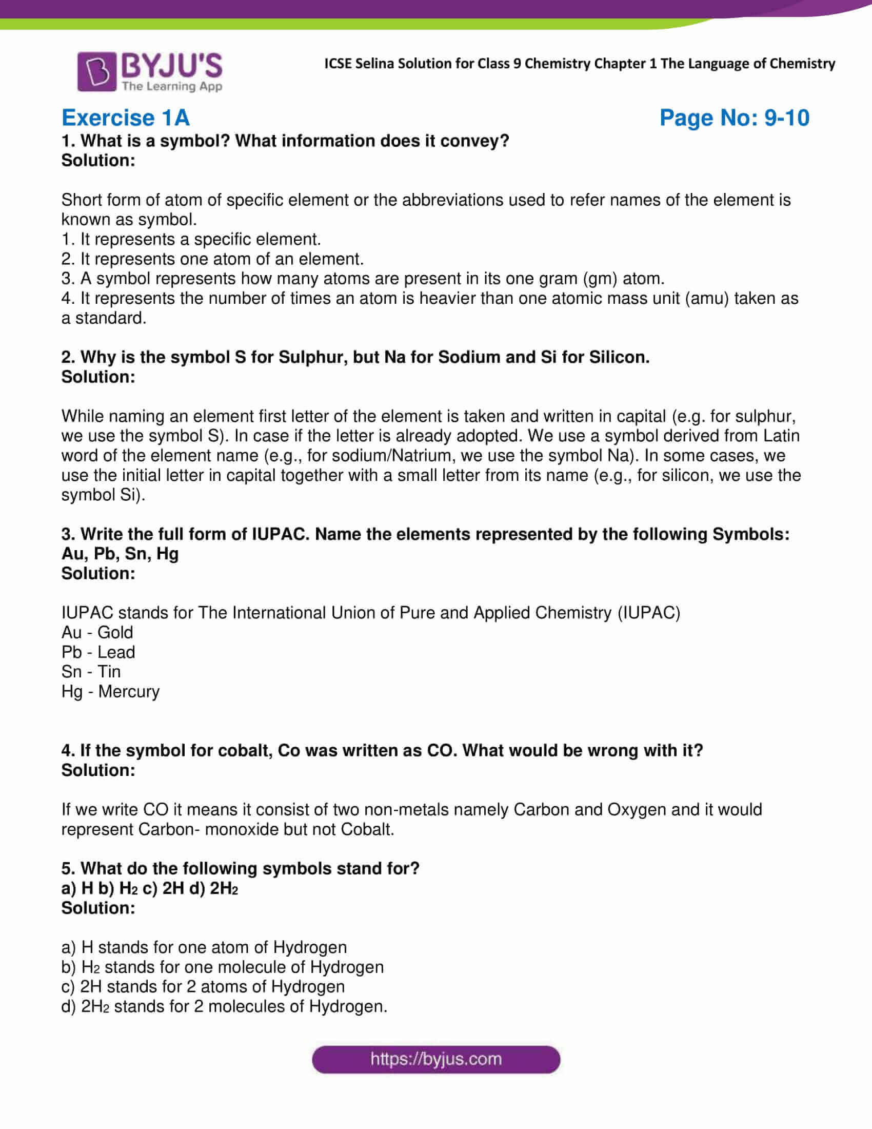 icse class 9 chemistry jul22 selina solutions chapter 1 the language of chemistry 01