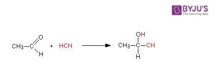 Acetaldehyde reacts with HCN