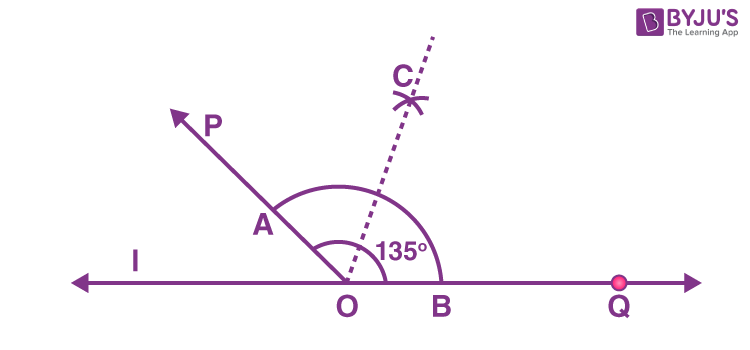 Bisector of angle 135 degrees