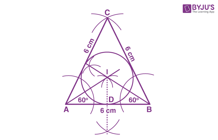 an equilateral triangle of side 6 cm and the incircle
