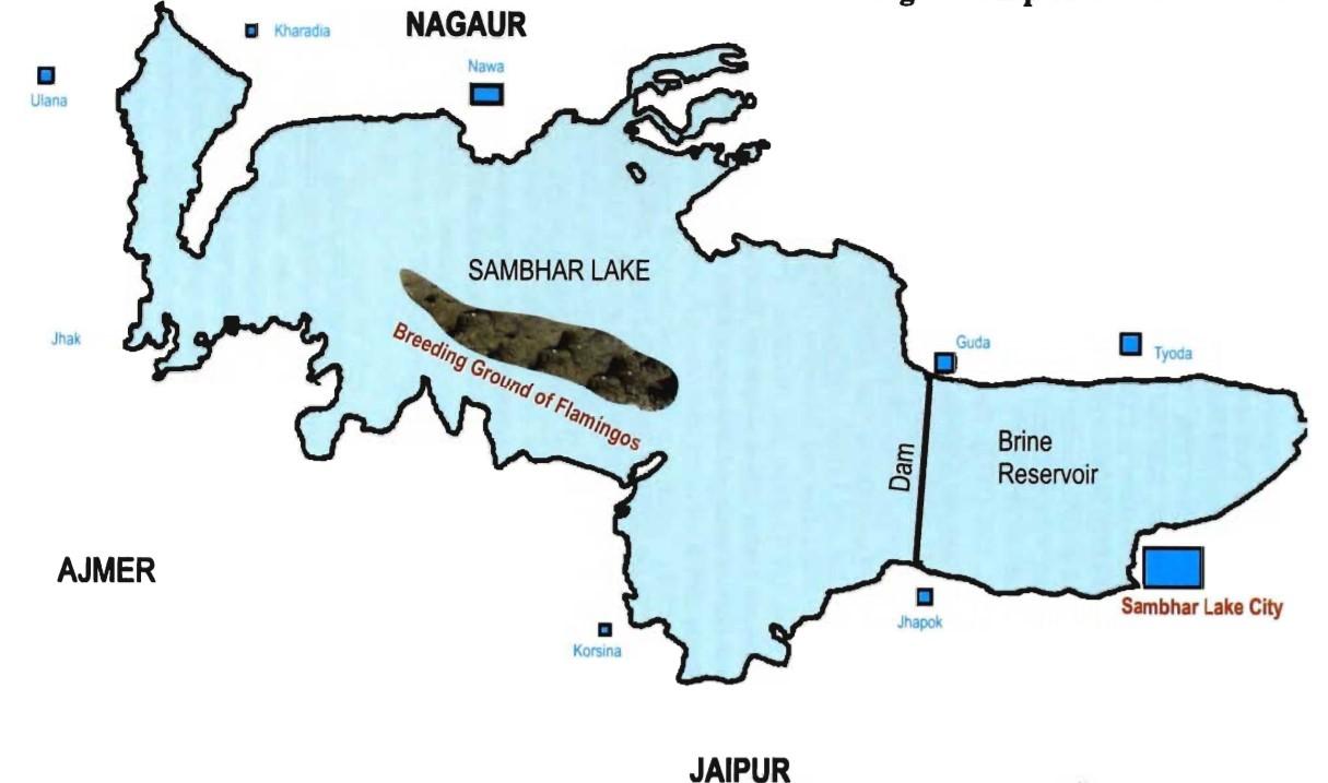 Map of Sambhar Lake
