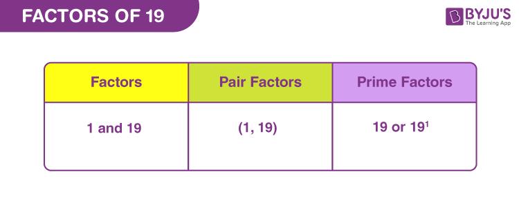 Factors of 19