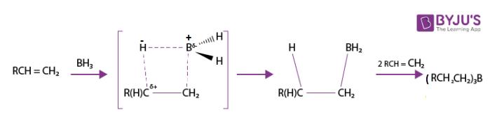 Hydroboration of terminal alkene to trialkylborane